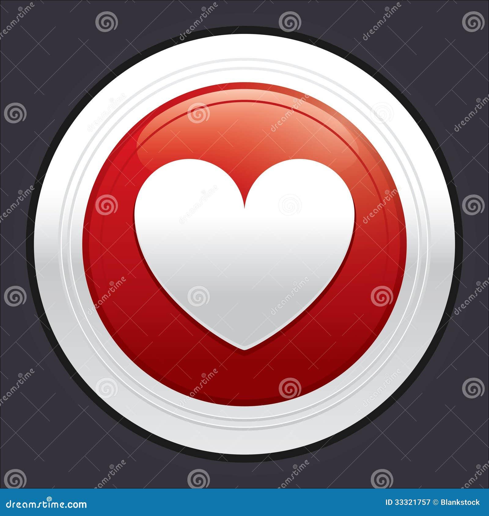 Botón Del Corazón. Etiqueta Engomada Redonda Roja Del Vector ...