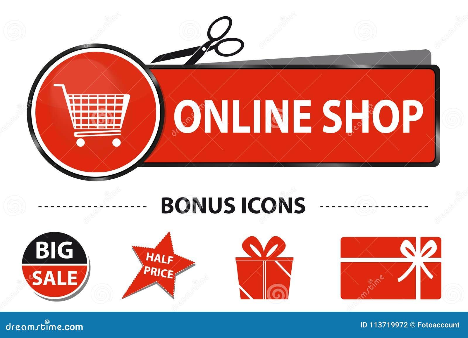 5f18d77e54 Botón en línea del web de la tienda con los iconos del carro de la compra y  de la prima - ejemplo de la etiqueta engomada del vector con Scissor y  línea ...