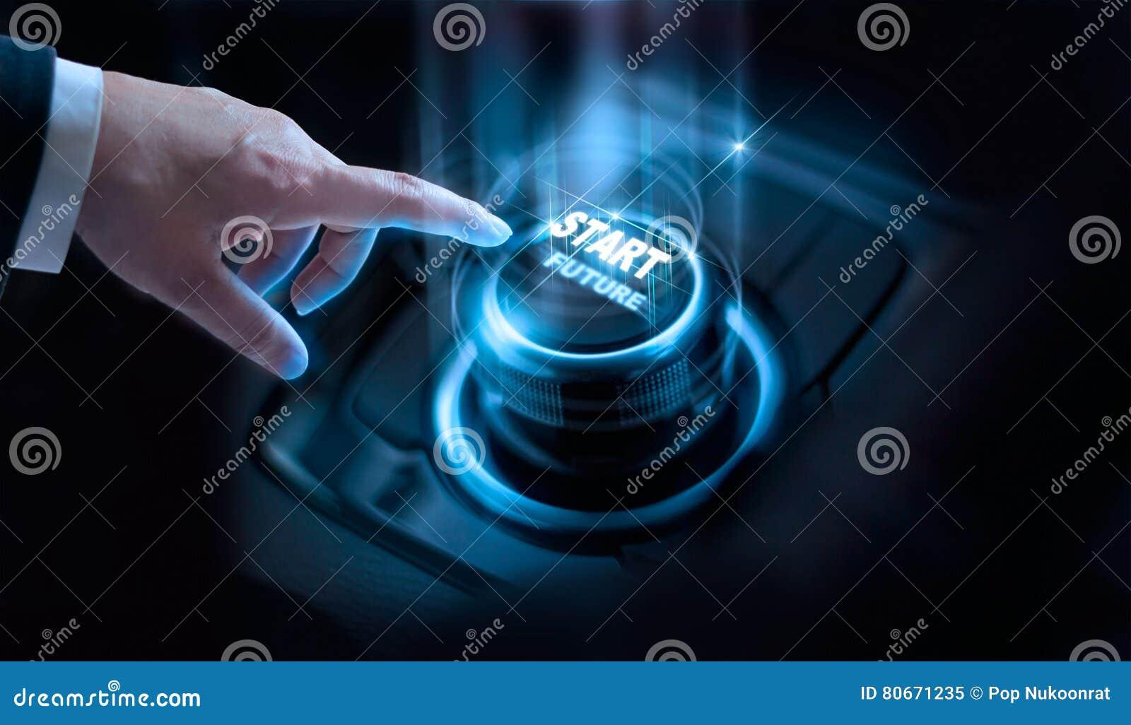 Botón futuro del comienzo de la prensa del hombre de negocios con la luz virtual