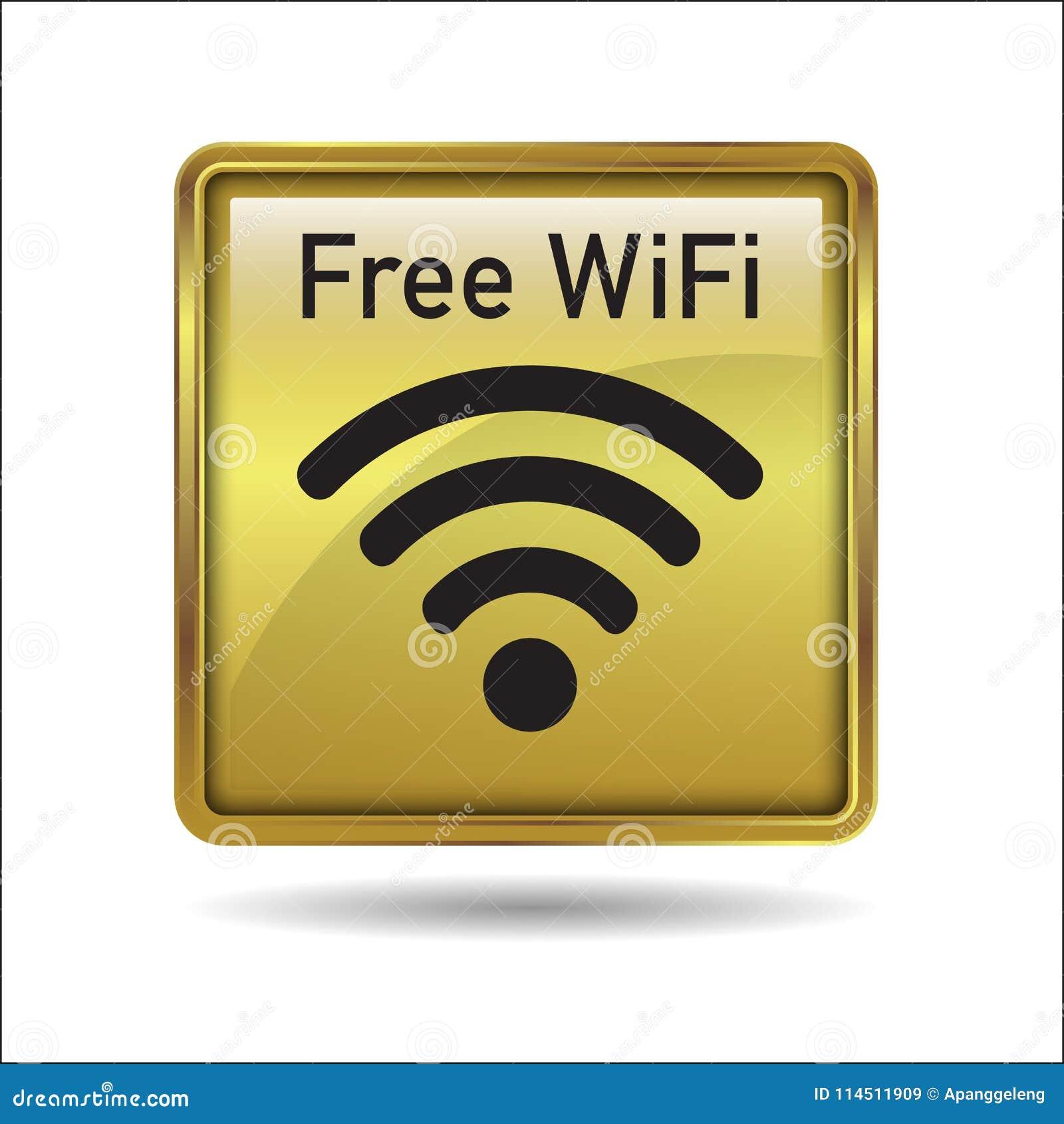 Botón Libre Del Icono Del Marco Del Oro De WiFi Ilustración del ...