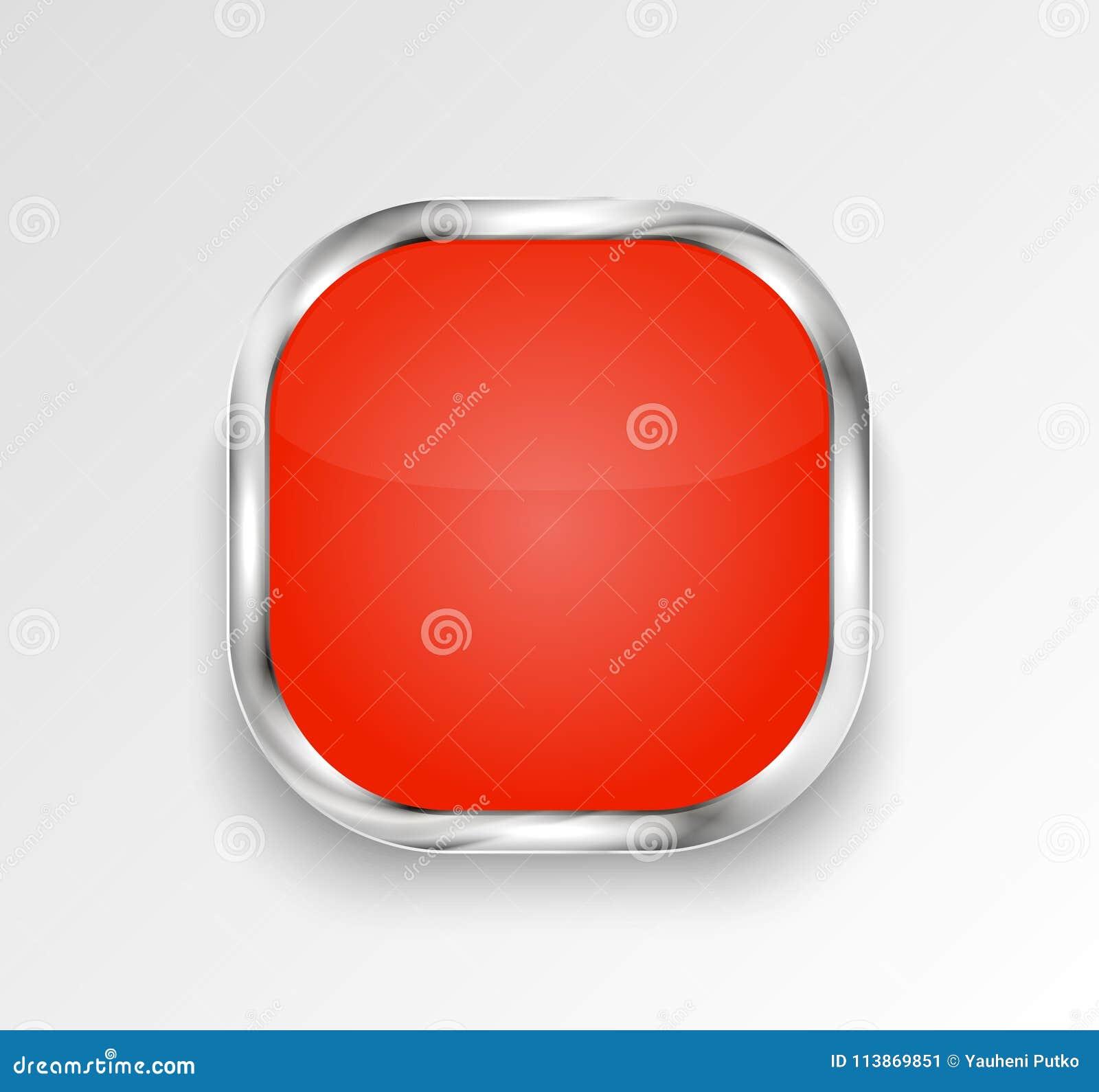 Botón o bandera brillante rojo Ilustración del vector