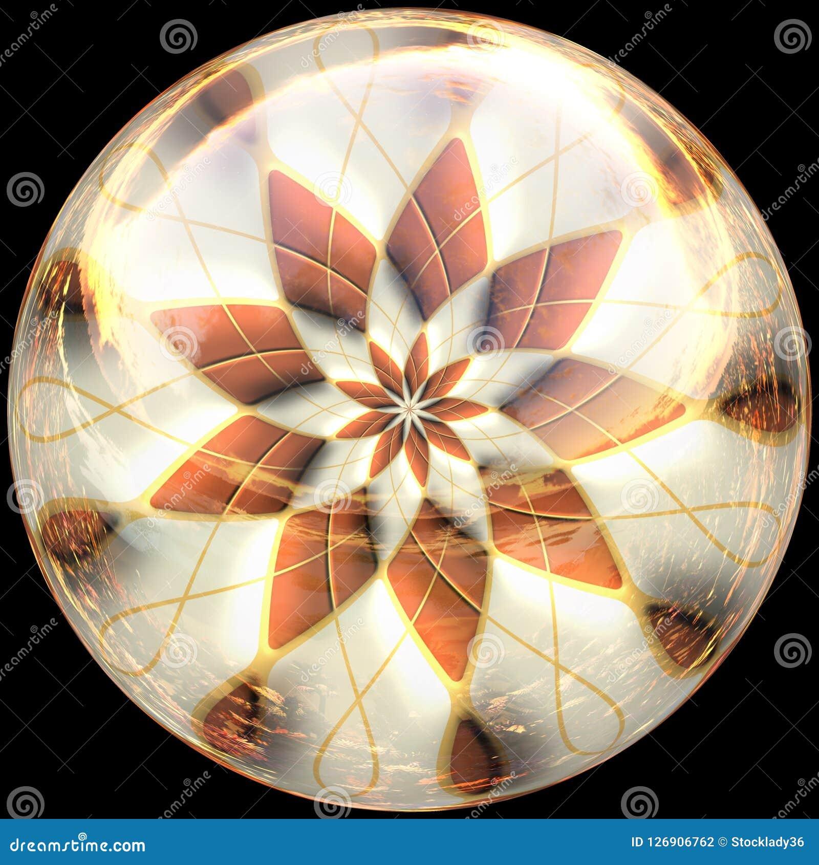 Botón pulido brillante con fractal sumergido
