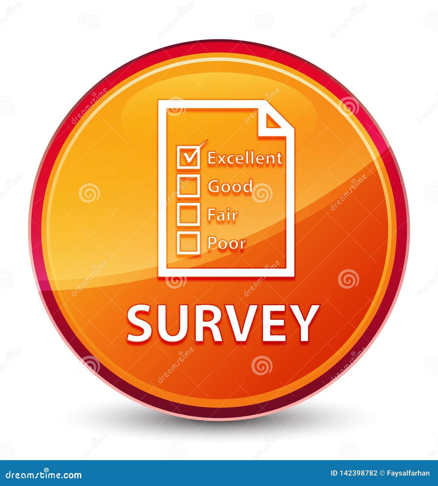 Botón redondo anaranjado vidrioso especial de la encuesta (icono del cuestionario)