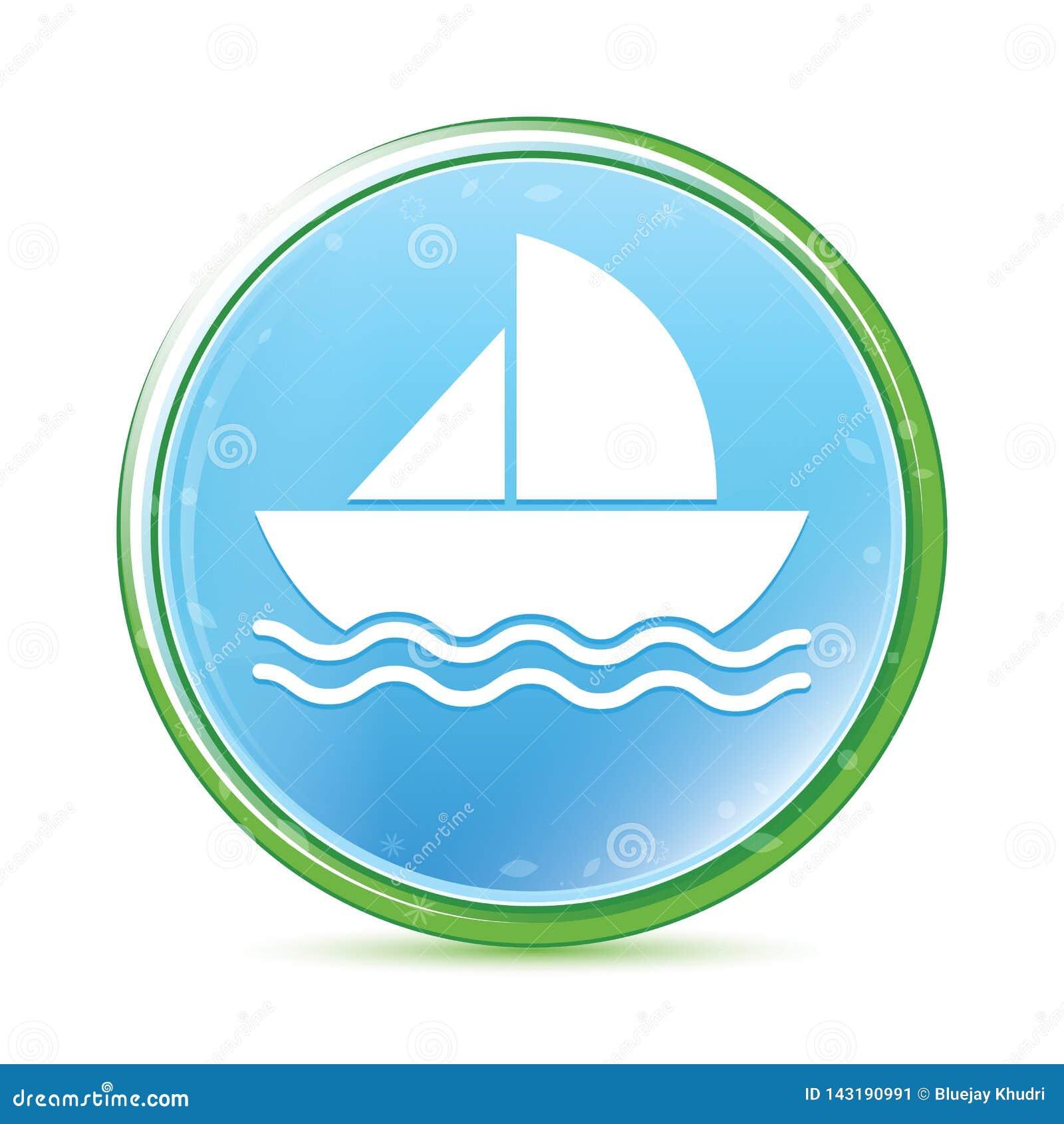 Botón redondo azul ciánico de la aguamarina natural del icono del velero