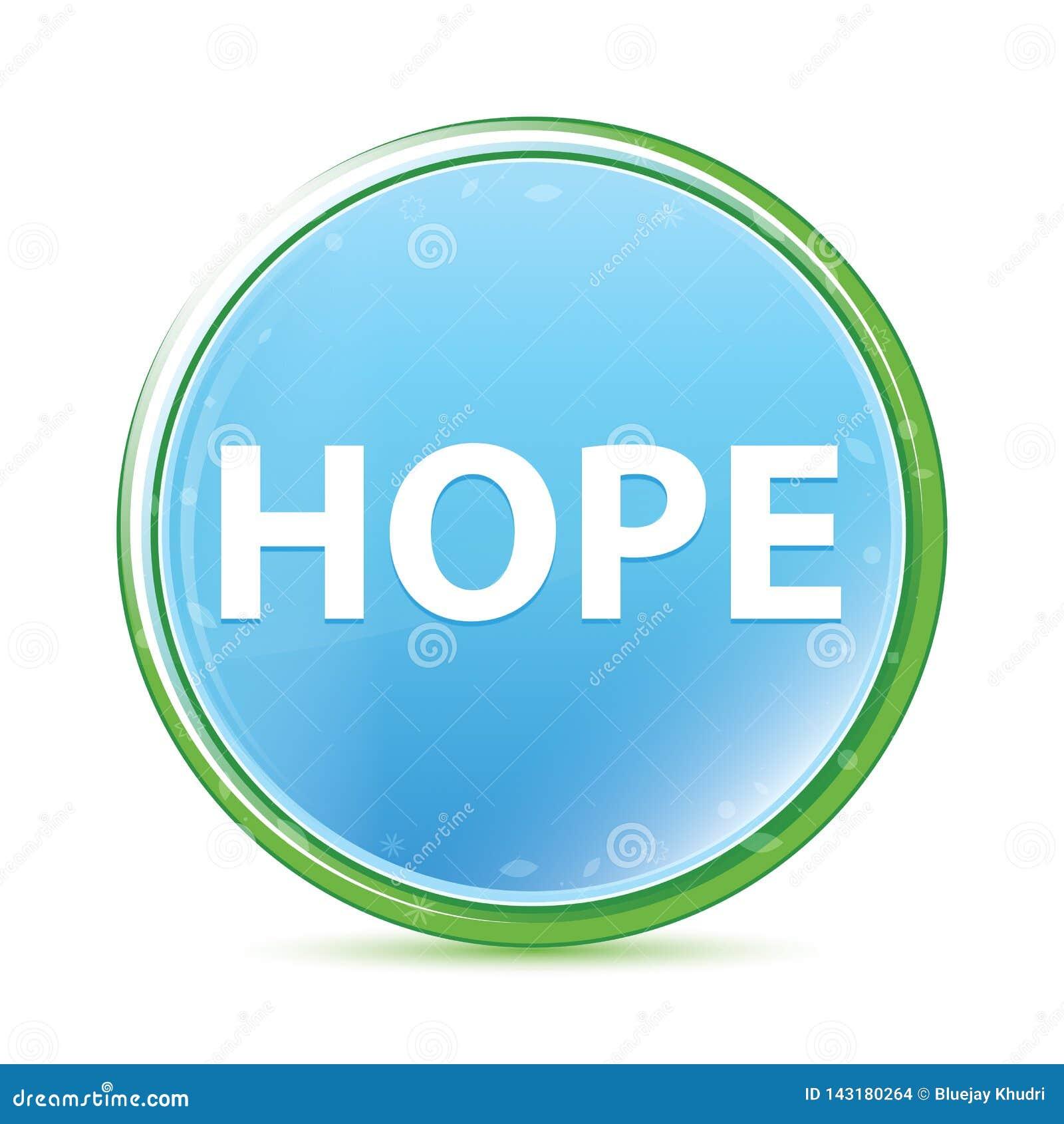 Botón redondo azul ciánico de la aguamarina natural de la esperanza