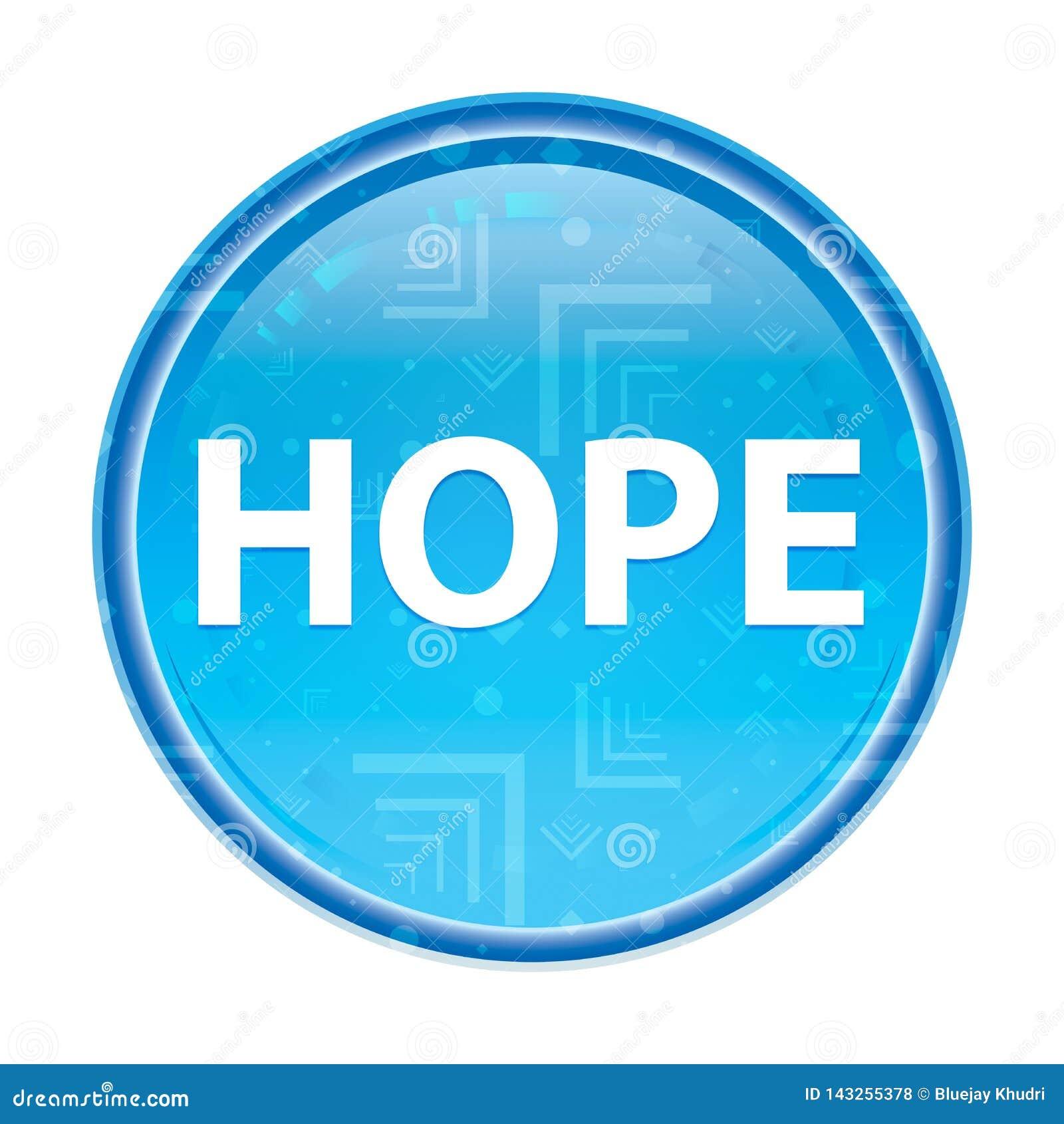 Botón redondo azul floral de la esperanza