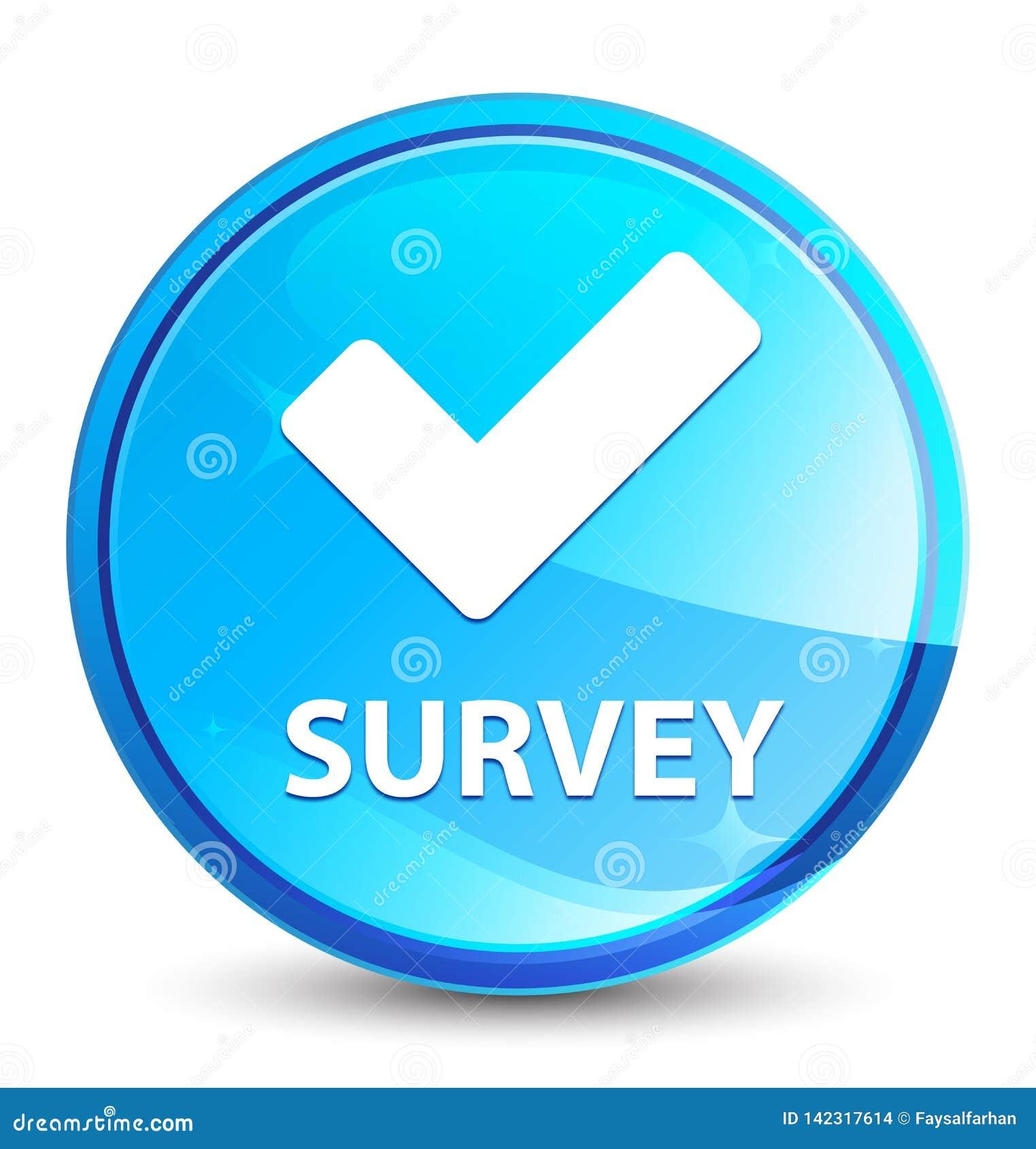 Botón redondo azul natural del chapoteo de la encuesta (valide el icono)