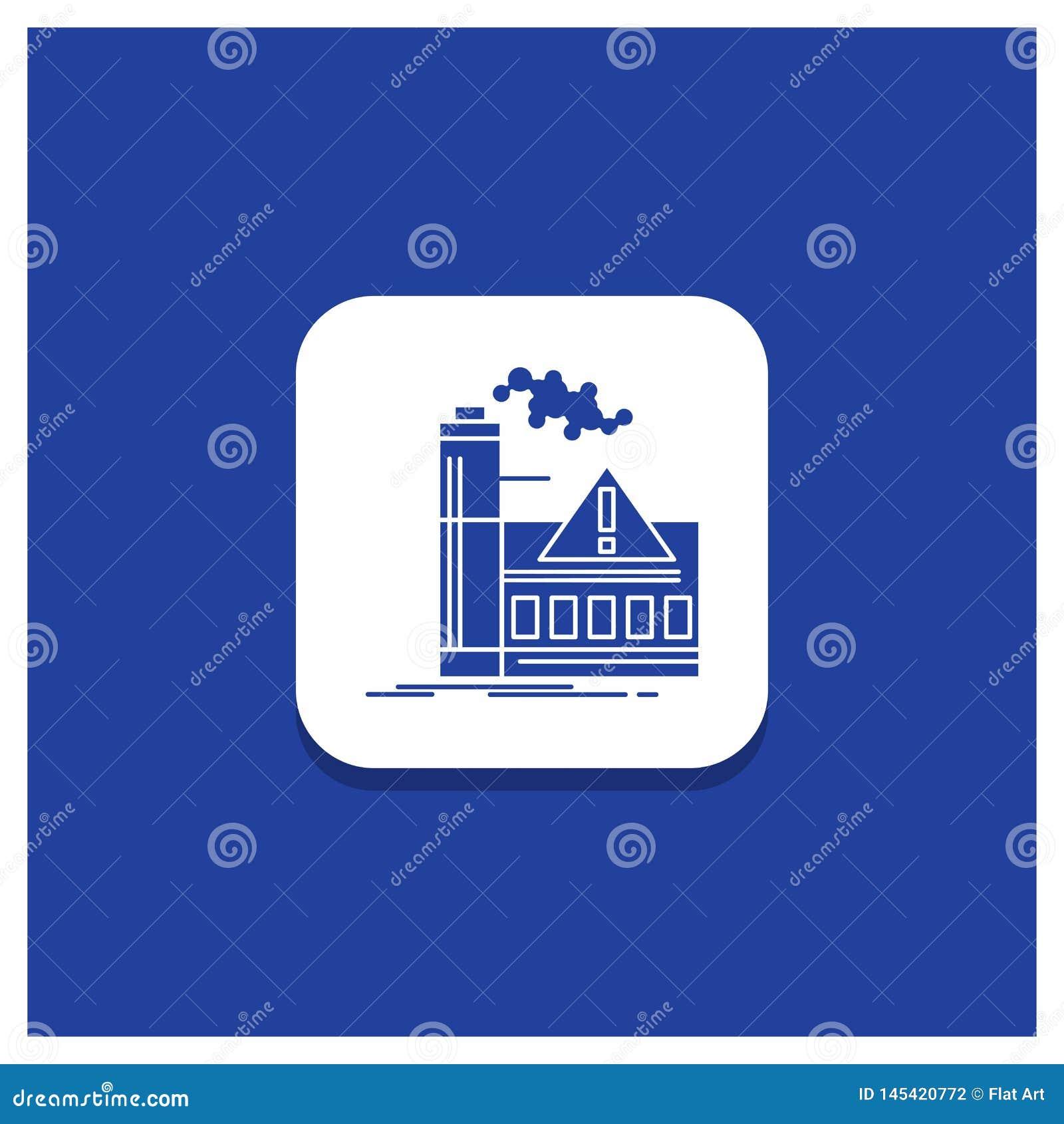 Botón redondo azul para la contaminación, fábrica, aire, alarma, icono del Glyph de la industria