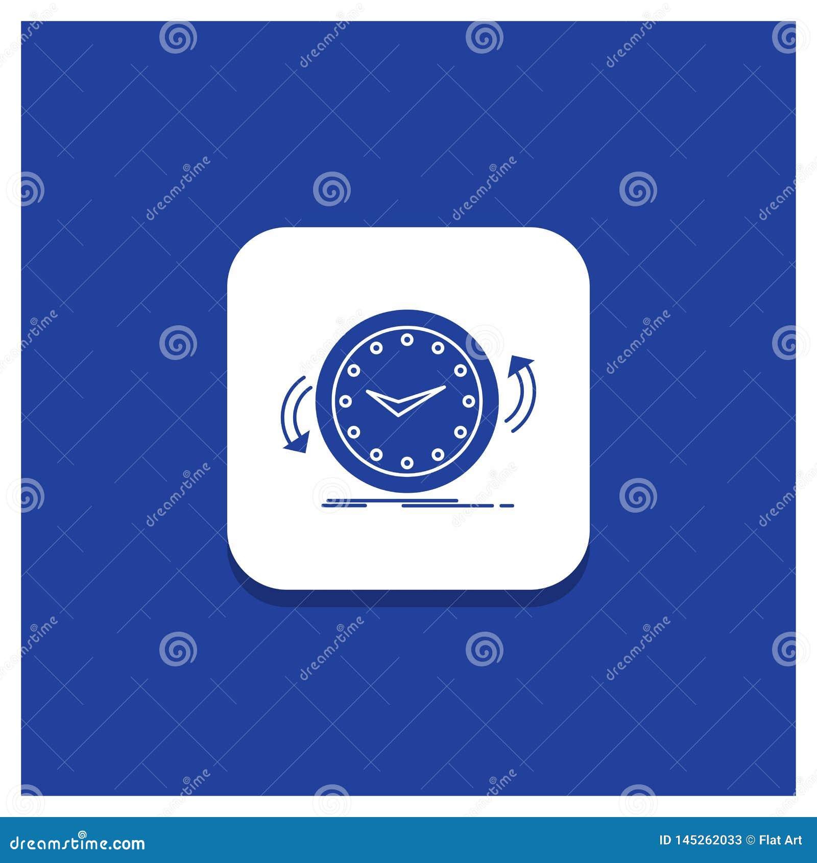 Botón redondo azul para la copia de seguridad, reloj, a la derecha, contrario, icono del Glyph del tiempo