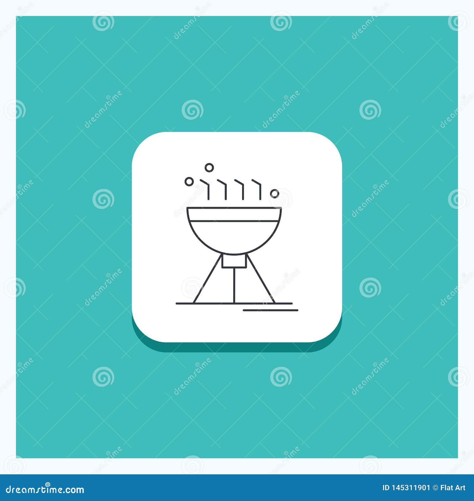 Botón redondo para cocinar el Bbq, acampando, comida, línea fondo de la parrilla de la turquesa del icono