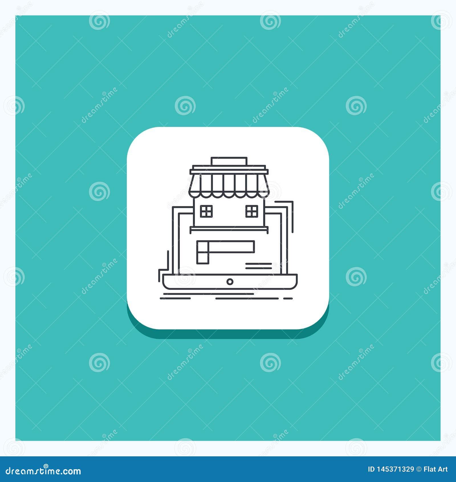Botón redondo para el negocio, mercado, organización, datos, línea en línea fondo del mercado de la turquesa del icono