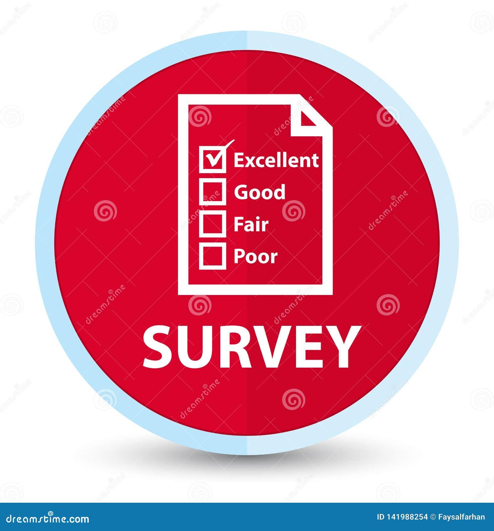 Botón redondo rojo primero plano de la encuesta (icono del cuestionario)