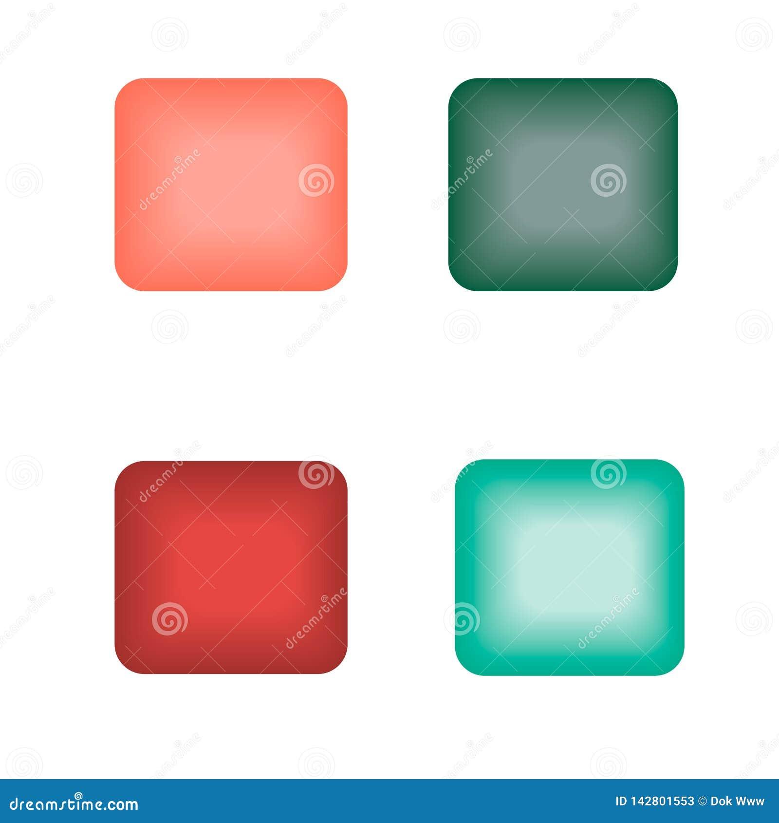 Botões de incandescência do quadrado de cores diferentes