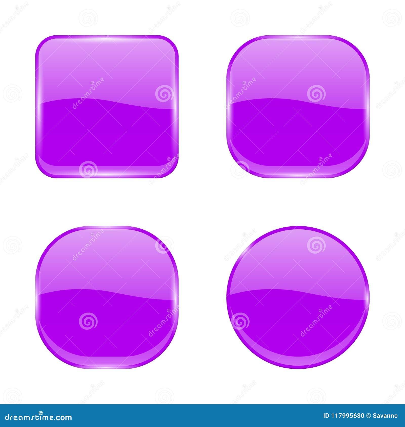 Botões de vidro violetas Ícones 3d geométricos brilhantes