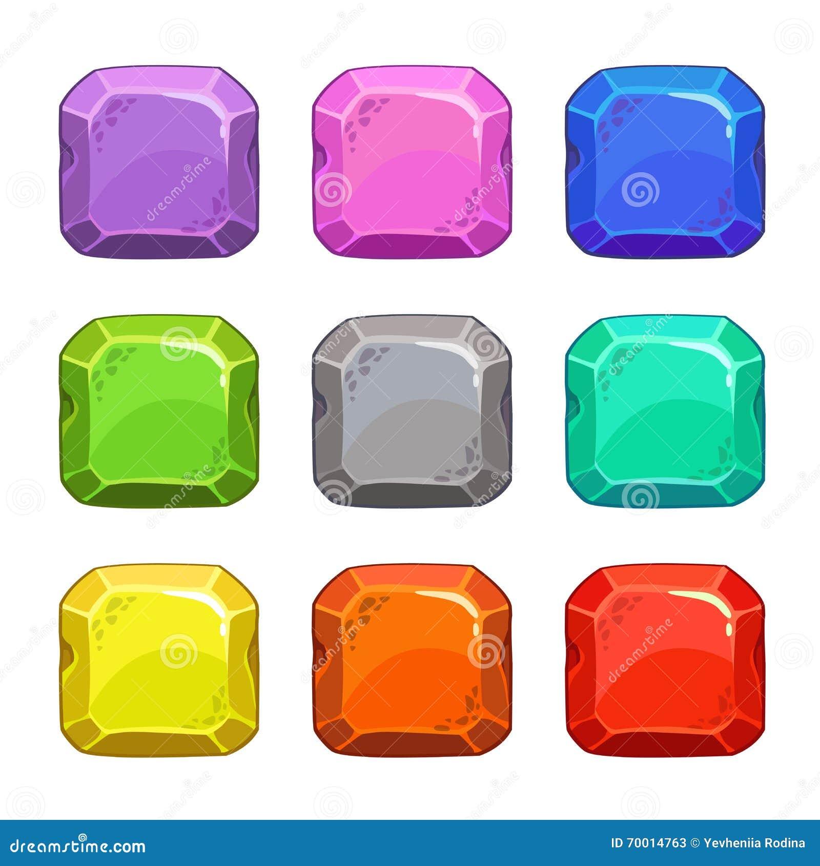 Botões quadrados coloridos do vetor dos desenhos animados engraçados