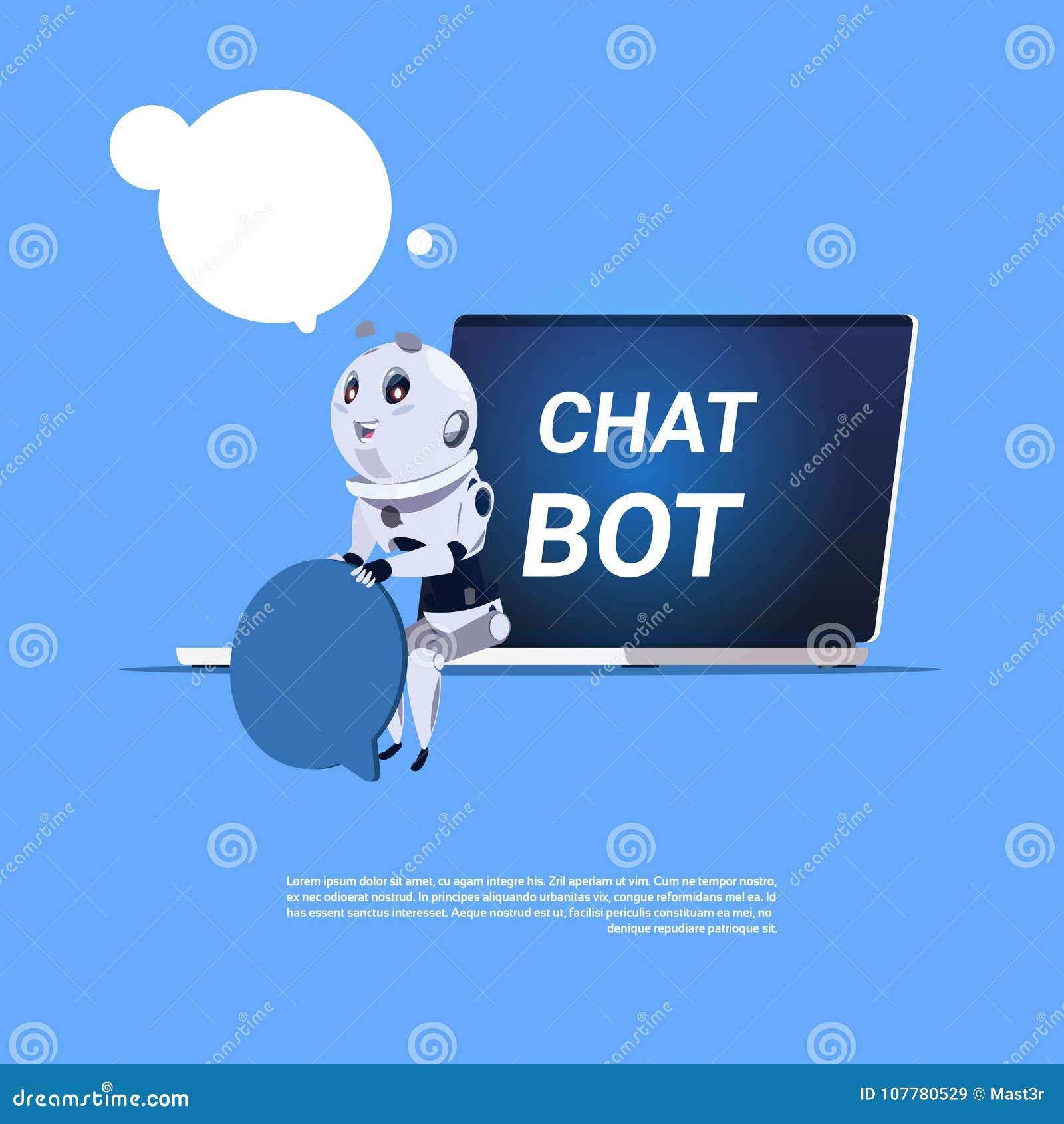 Bot APP de causerie de support technique dans la bannière de calibre d ordinateur portable avec l espace de copie, le broutement