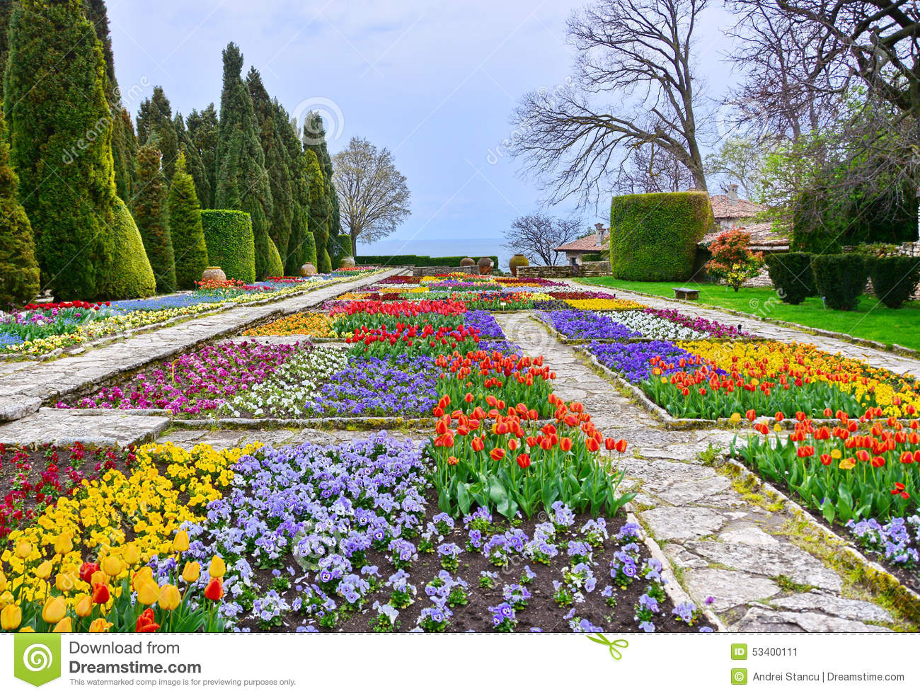 botanic garden with colorful flowers stock photo image. Black Bedroom Furniture Sets. Home Design Ideas