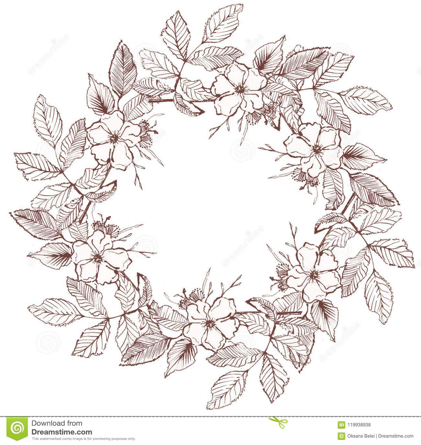 Floral Wreath Illustration Simple