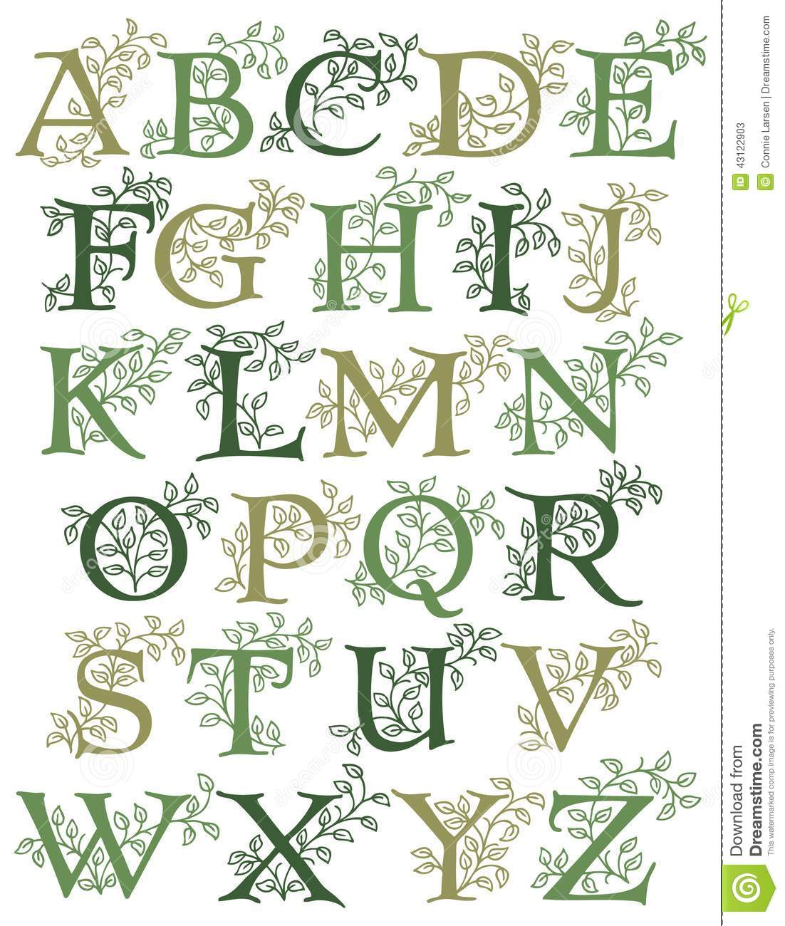 Hand-drawn alphabet with leafy green vines entwined with capital ...
