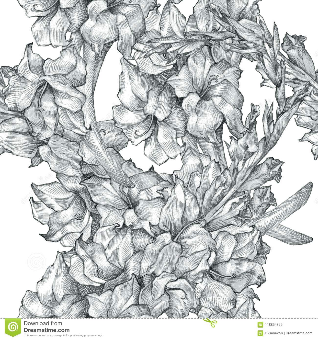 Botanical floral flower pencil drawing sketch seamless ornate pattern black and white texture background for invitations download preview