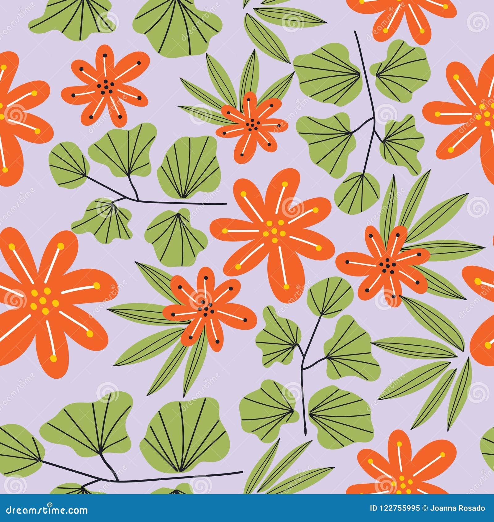 Botanical Floral Seamless Pattern Vector Flower Print Floral