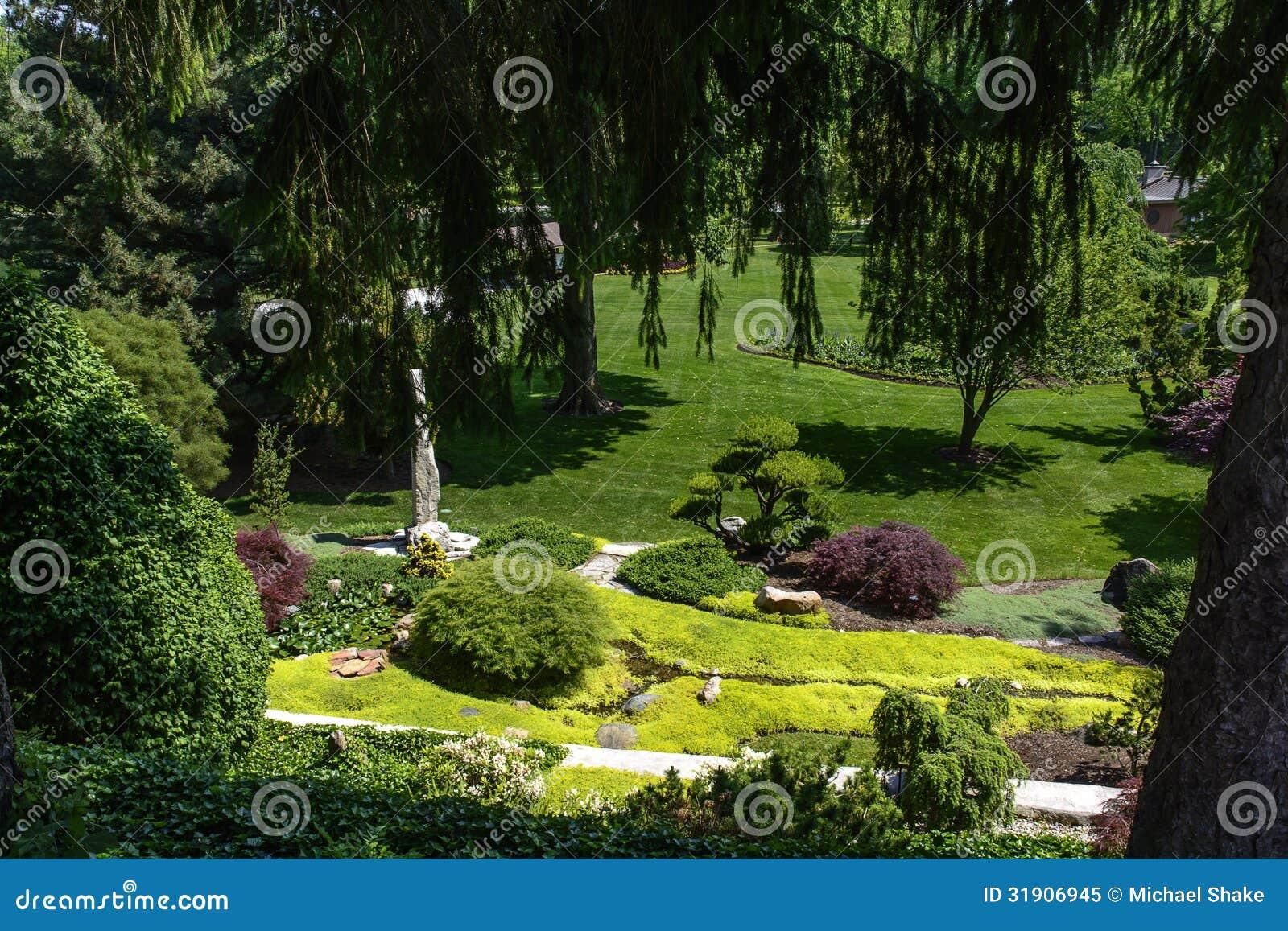 Botanical garden stock image image of garden landscaping for Ornamental trees for flower beds