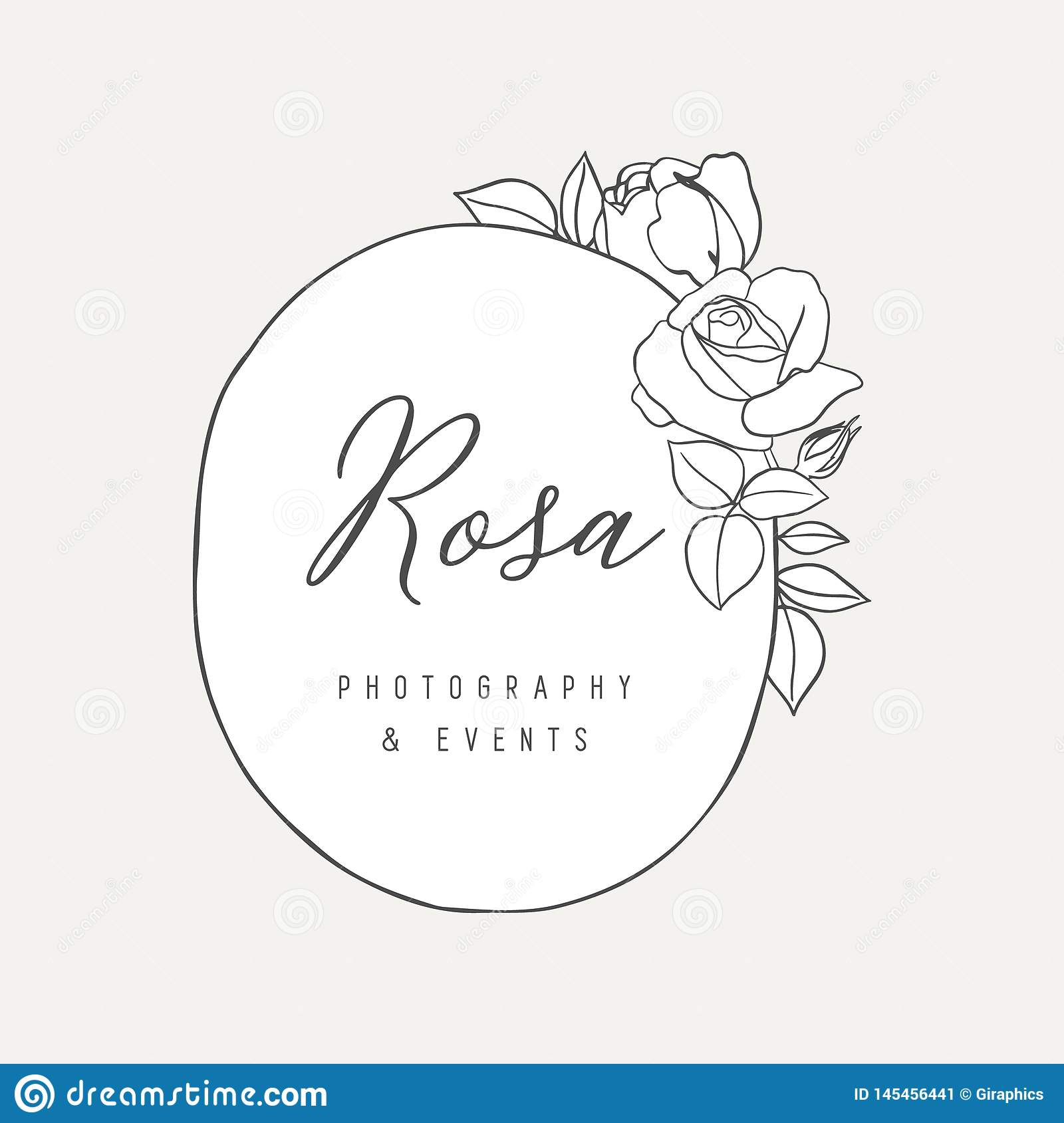 Botanical Rose Logo Illustration Stock Vector Illustration
