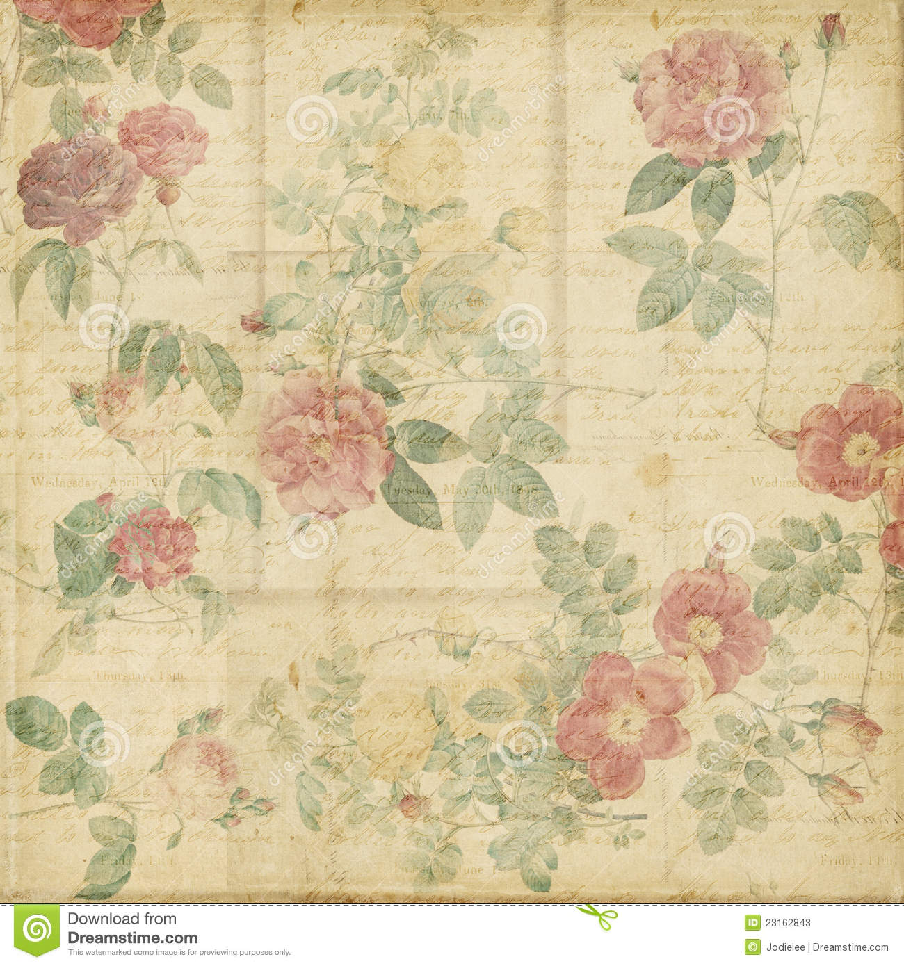 Botanical vintage roses shabby chic background stock - Papel pintado romantico ...
