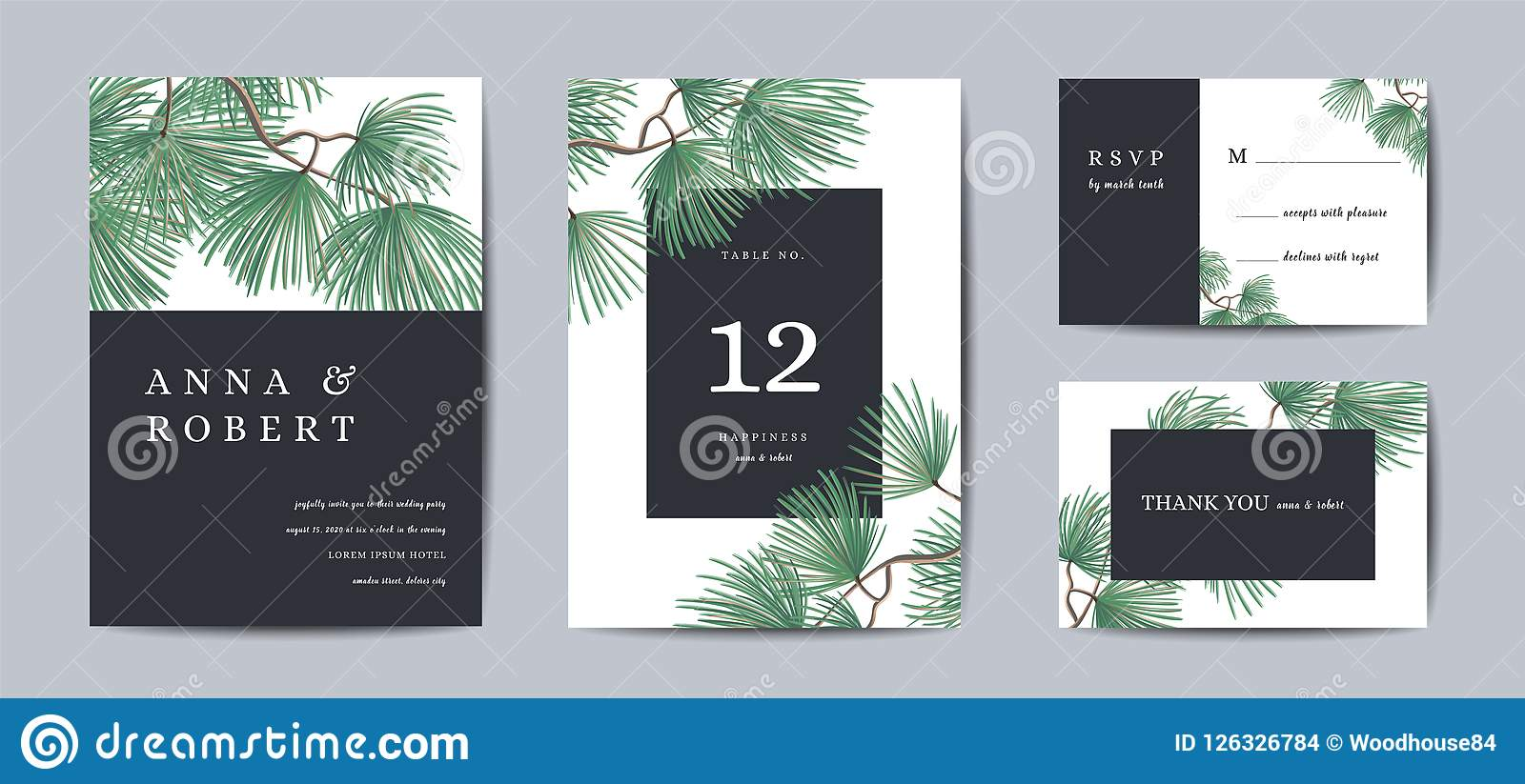 Botanical Wedding Invitation card Template Design, Pine Tree with Golden Foil, Christmas Greetings, Collection