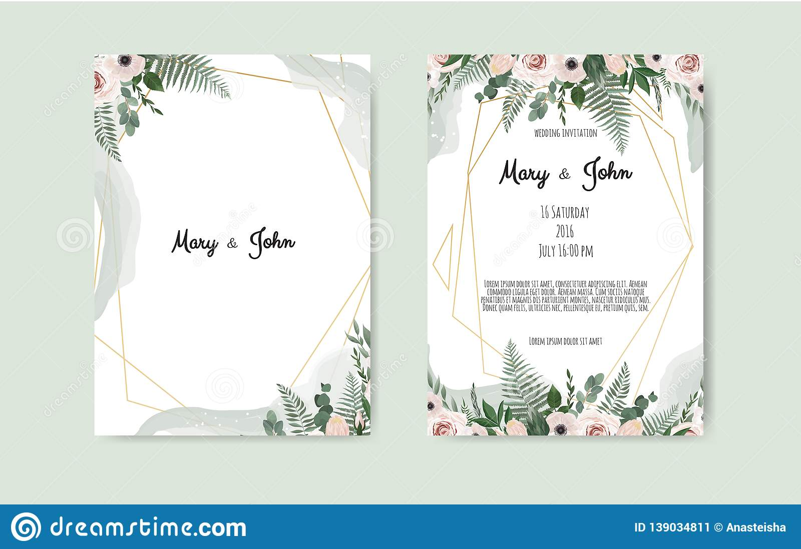Botanical Wedding Invitation Card Template Design White And Pink Flowers On White Background Stock Vector Illustration Of Garden Golden 139034811