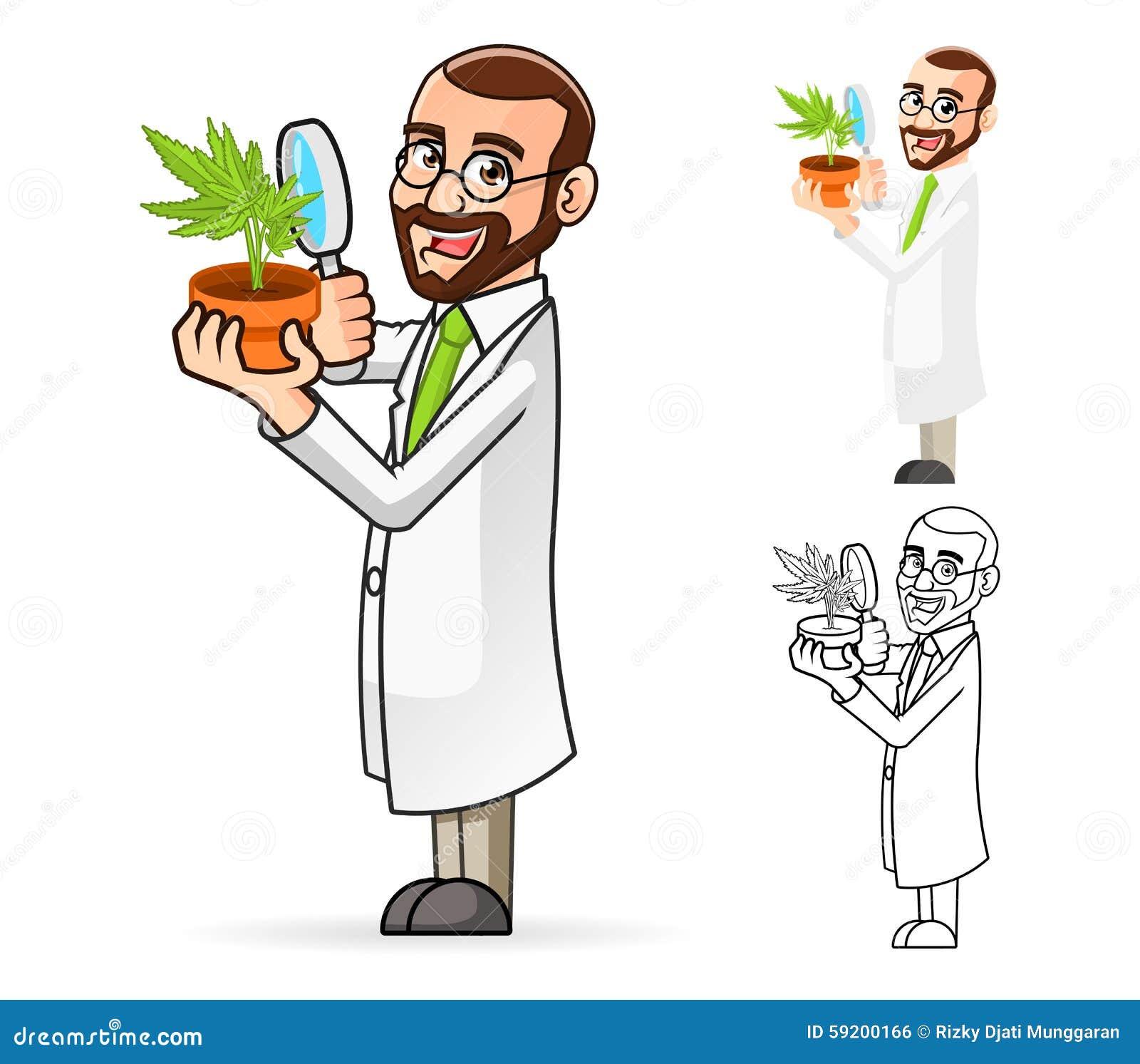 Botanico cartoon character looking in una pianta tramite