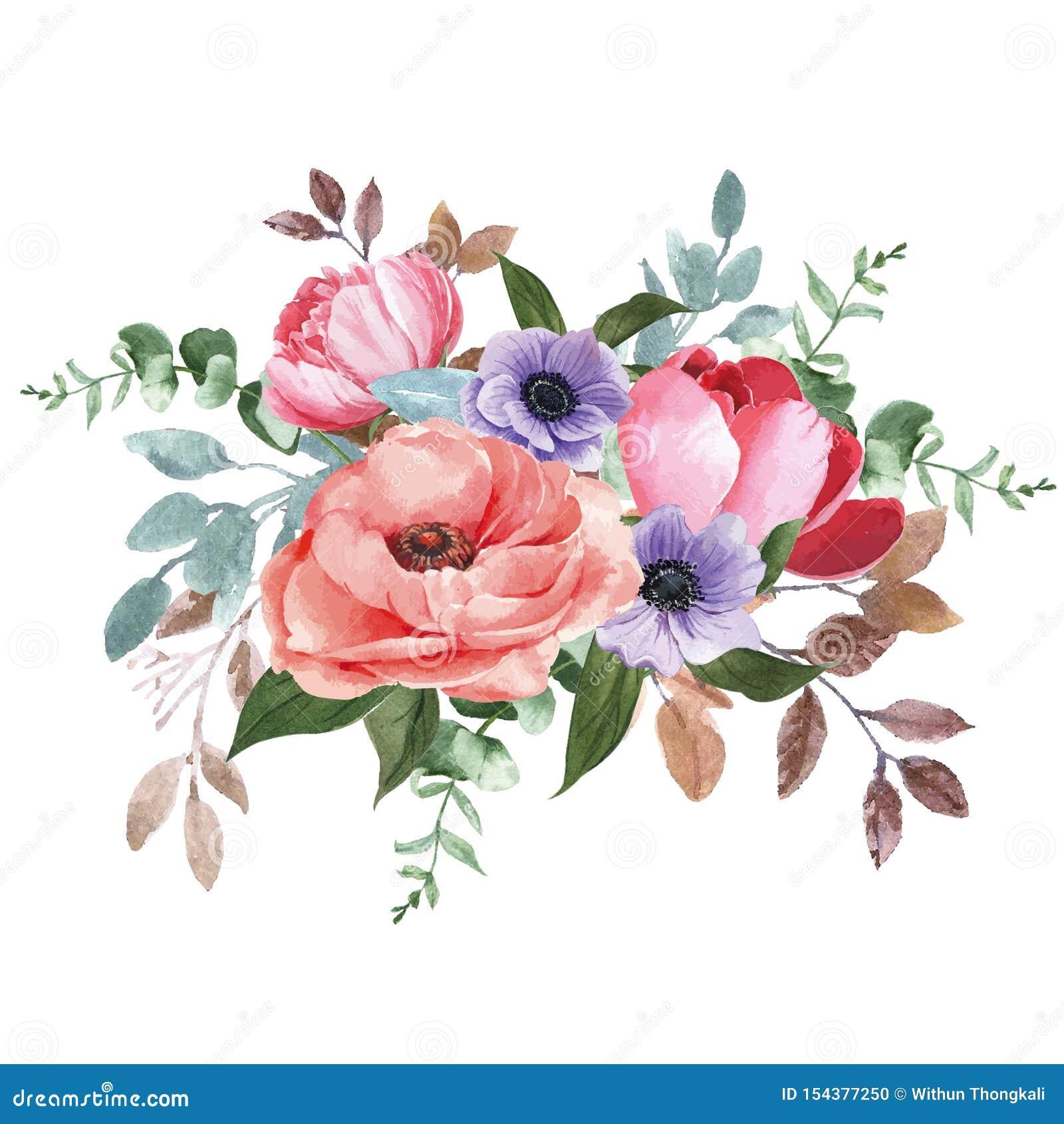 Botanische blühende Blumenaquarell-Blumenstraußeleganz, Druckvektor-Illustrationsentwurf