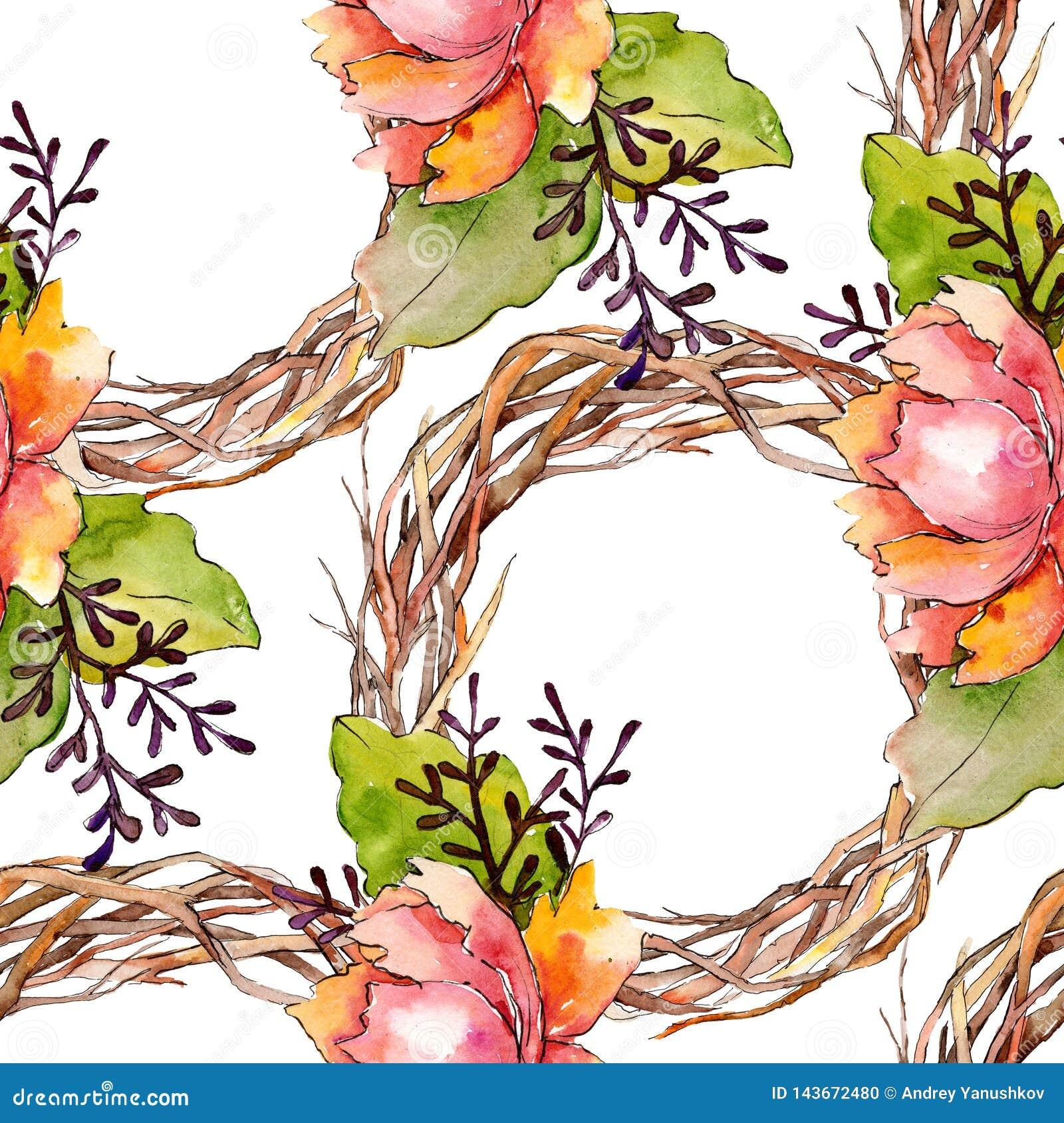 Botanische mit Blumenblumen des blauen purpurroten Blumenstrau?es Aquarellhintergrund-Illustrationssatz Nahtloses Hintergrundmust