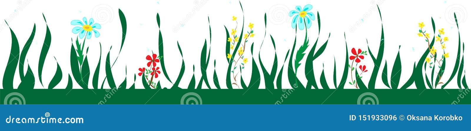 Botanische nahtlose Grenze mit Blumen und Blättern, Blumenmuster
