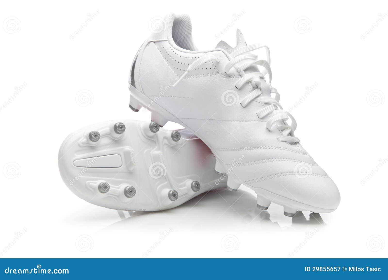 1c8fc09ec1917 Botas blancas del fútbol imagen de archivo. Imagen de boot - 29855657