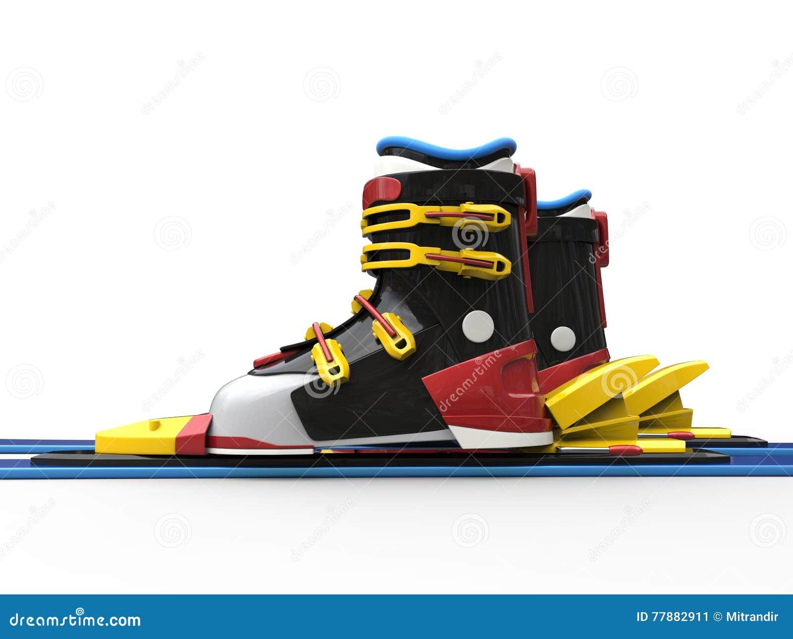 Botas De Esquiar Con Las Correas Amarillas Y Los Skiis Azules Stock de ilustración