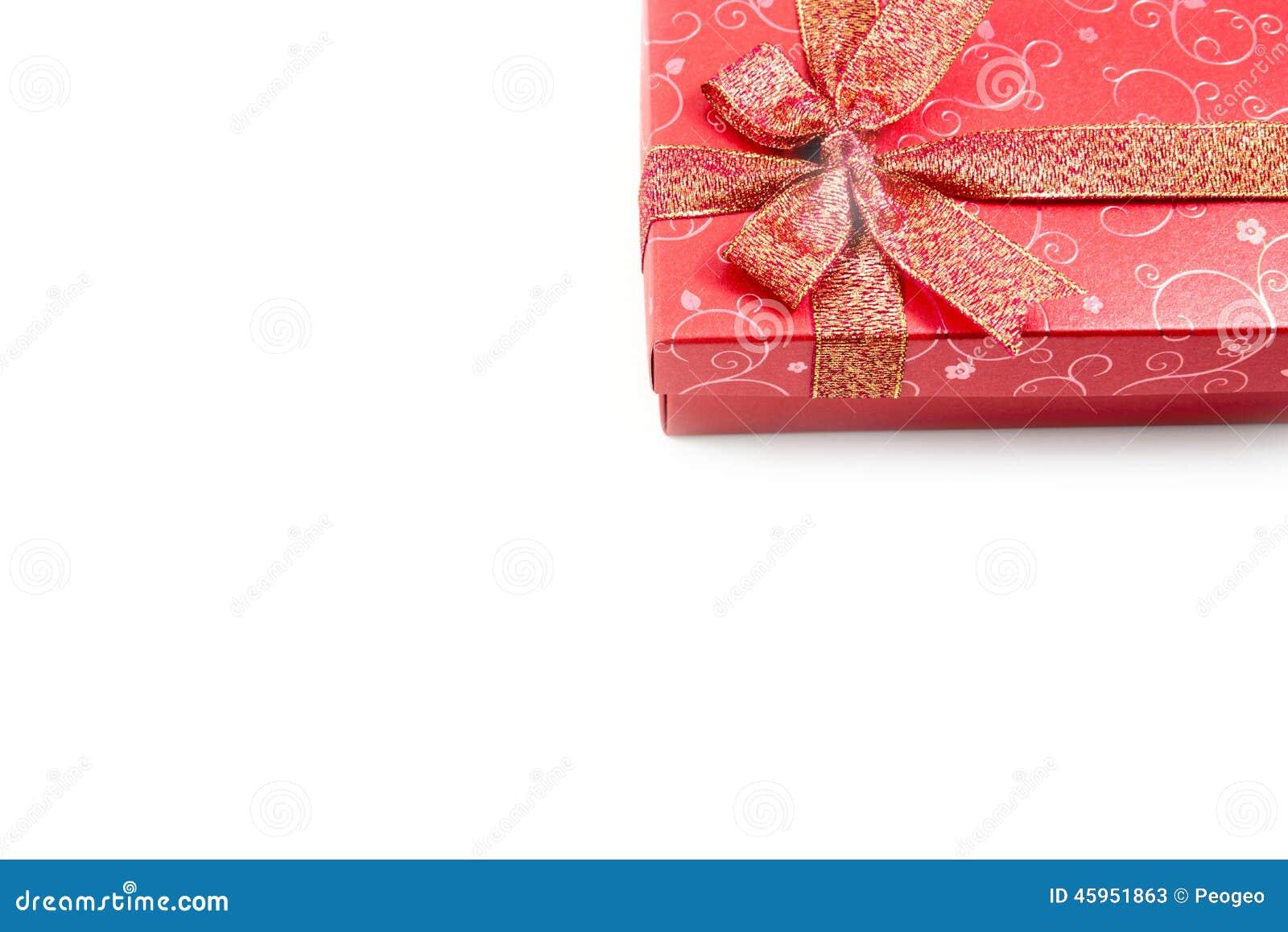 Bo te cadeau rouge sur le bon coin d 39 isolement photo stock for Le bon coin boite a couture