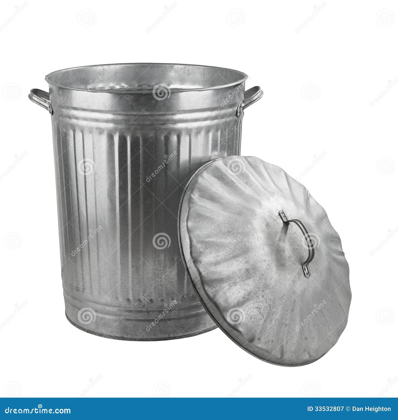 Bote de basura de acero de plata