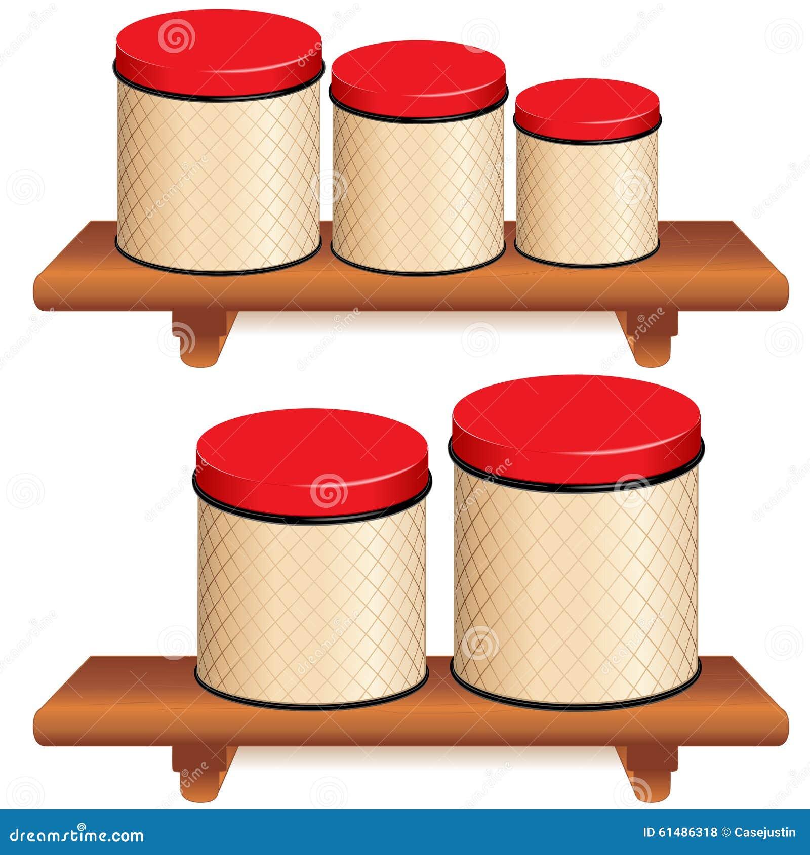 Bote de la cocina fijado en los estantes de madera