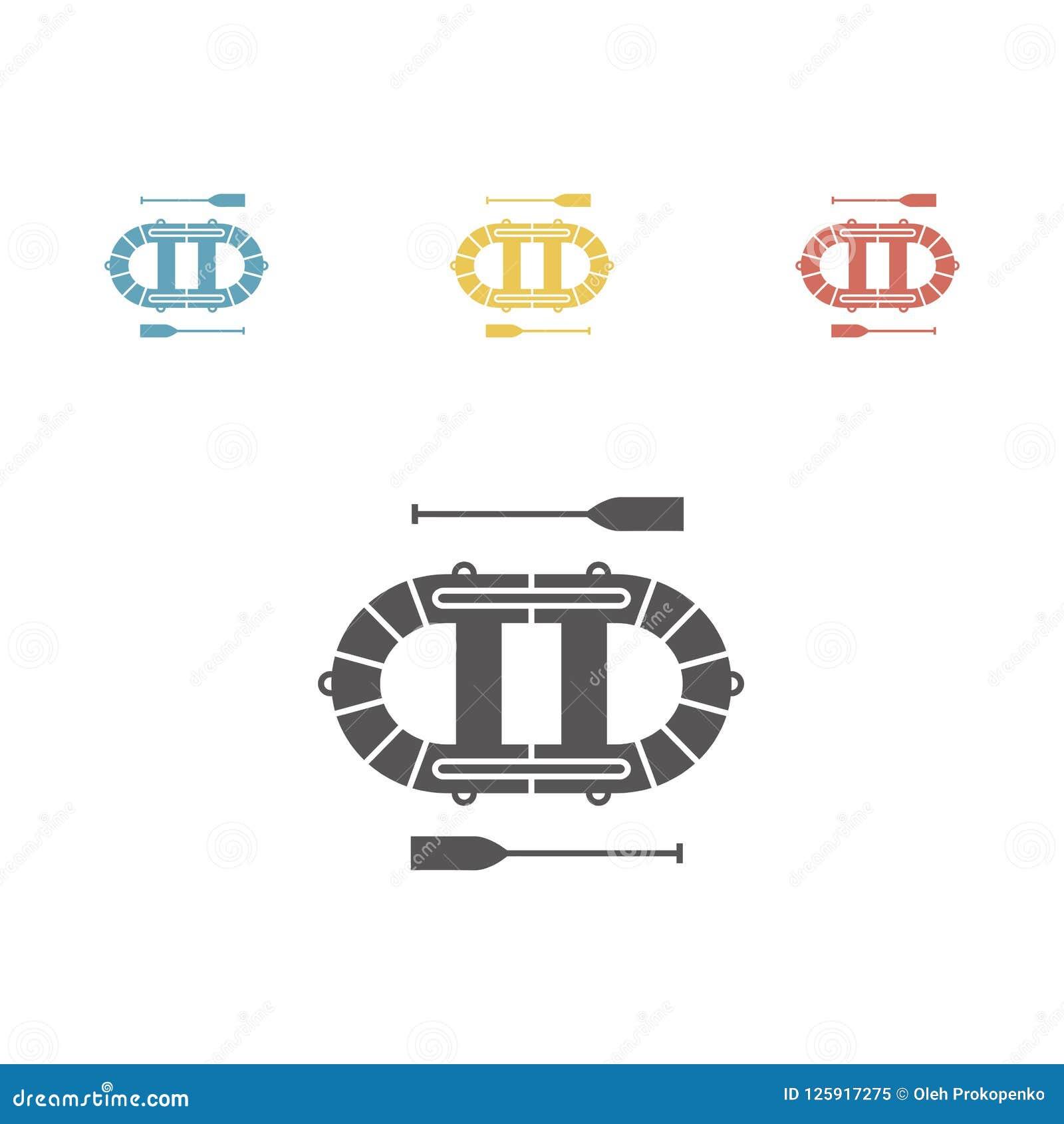 Bote Icono inflable del barco Muestras del vector para los gráficos del web