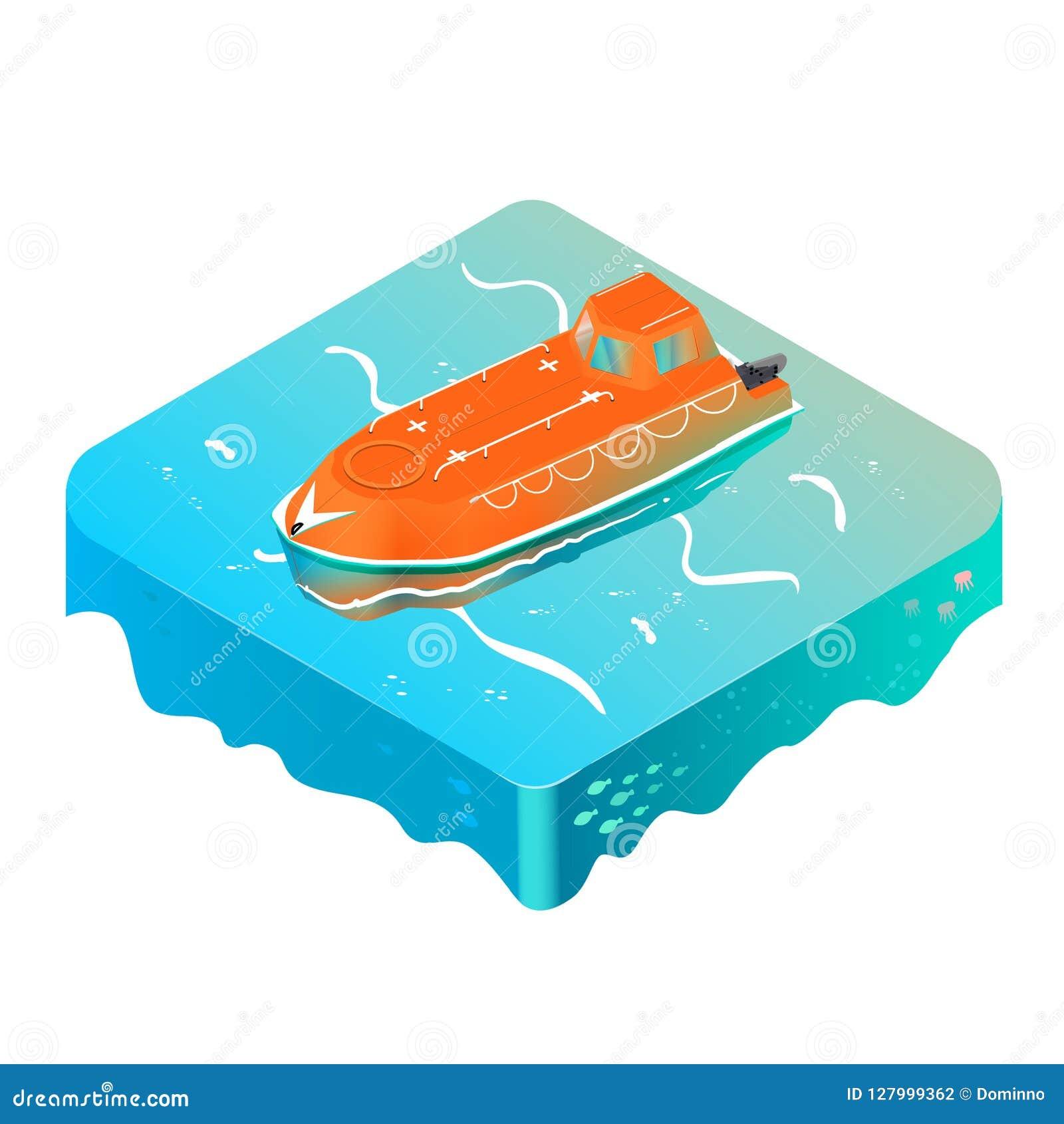 Bote salvavidas de la emergencia en el océano isométrico