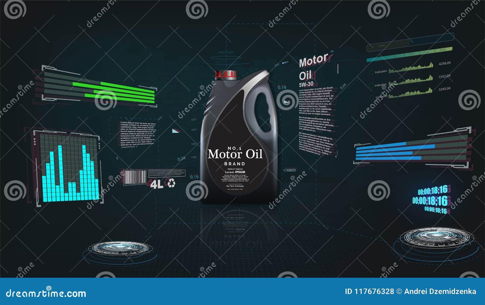Botella de aceite de motor en un fondo futurista