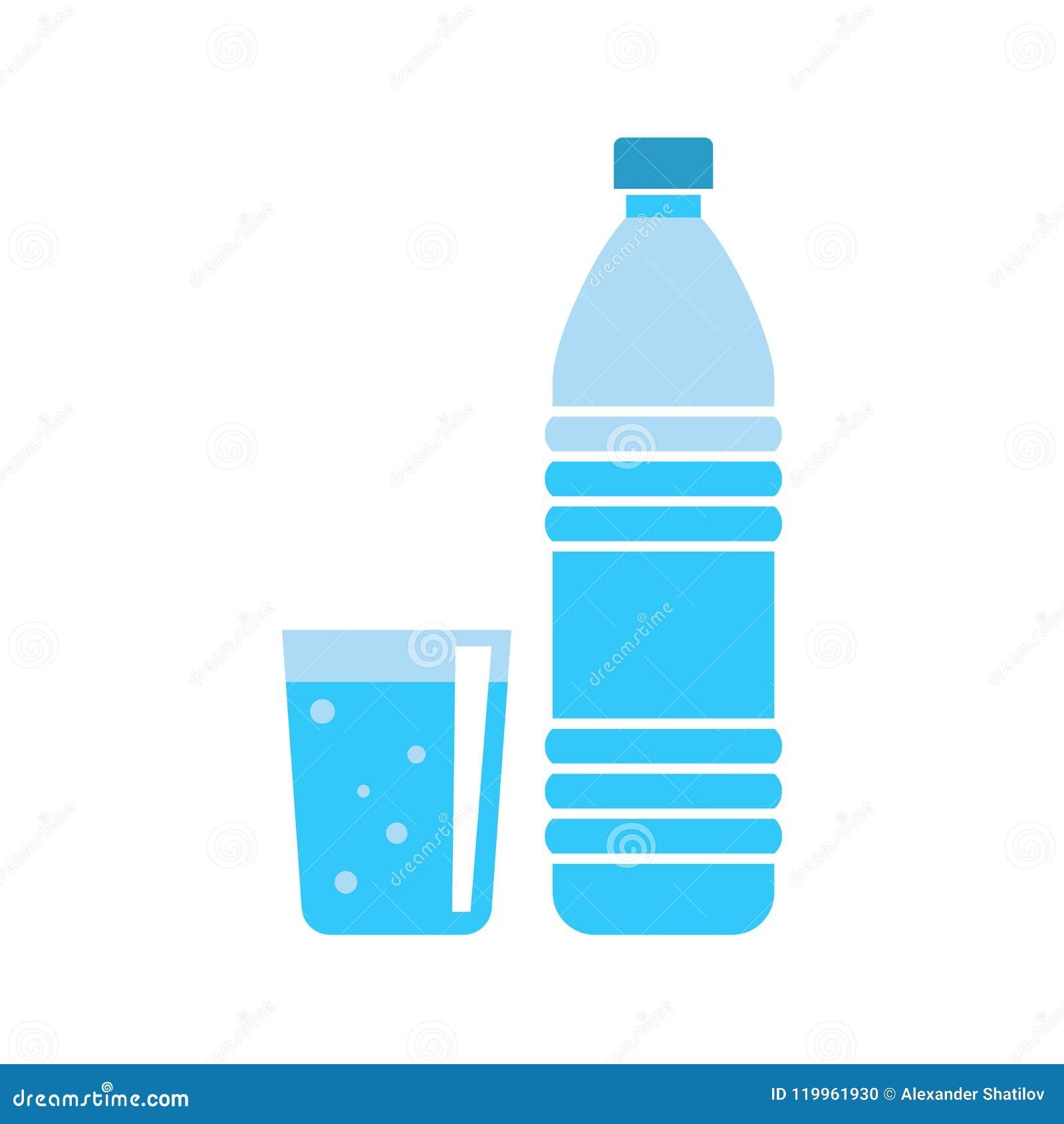Botella de agua plástica - envase de bebidas - agua mineral fresca - ejemplo plano del vector aislado en el fondo blanco