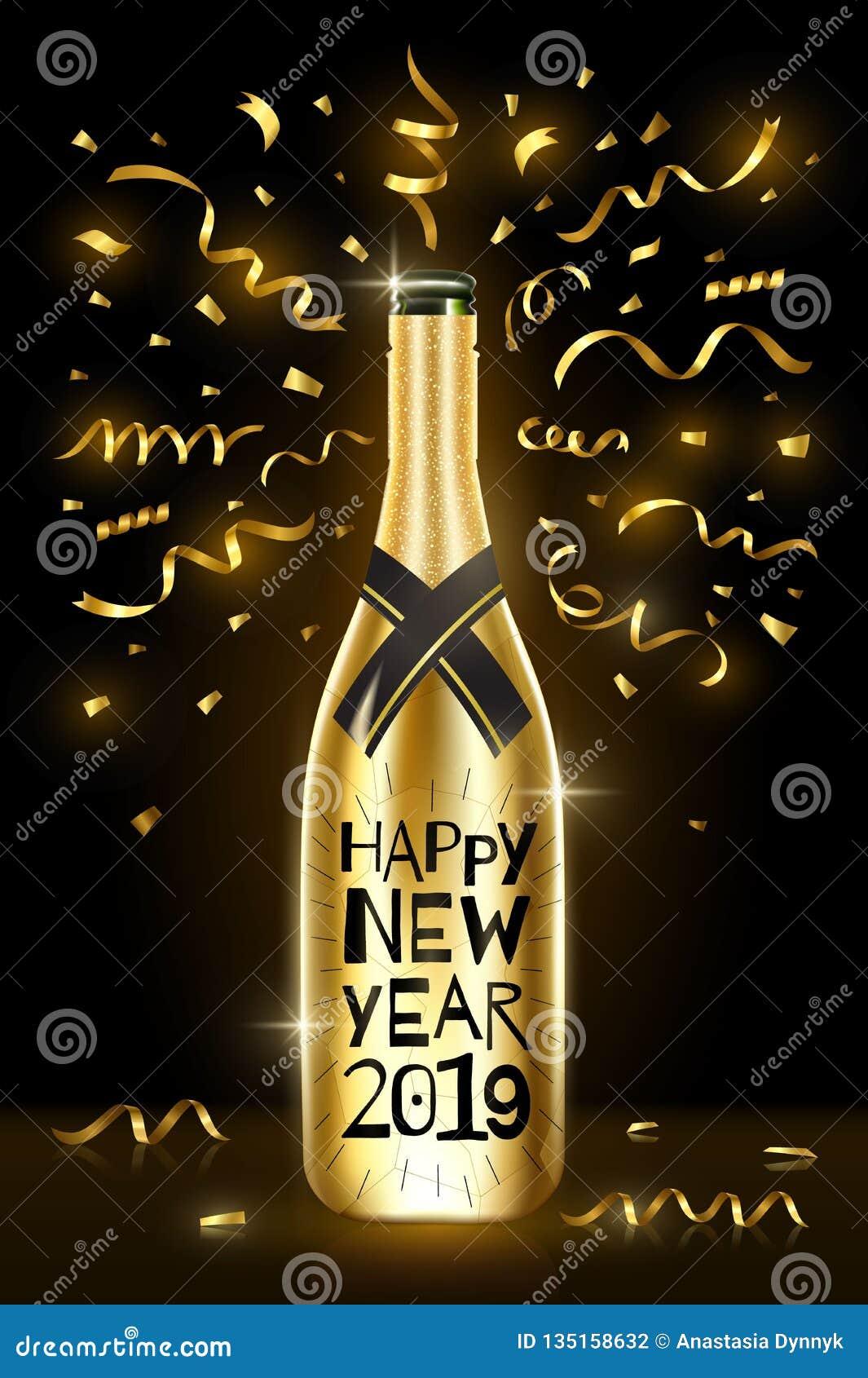 Botella de champán Tarjeta 2019 de felicitación de la Feliz Año Nuevo Días de fiesta de invierno Ilustración EPS10 del vector