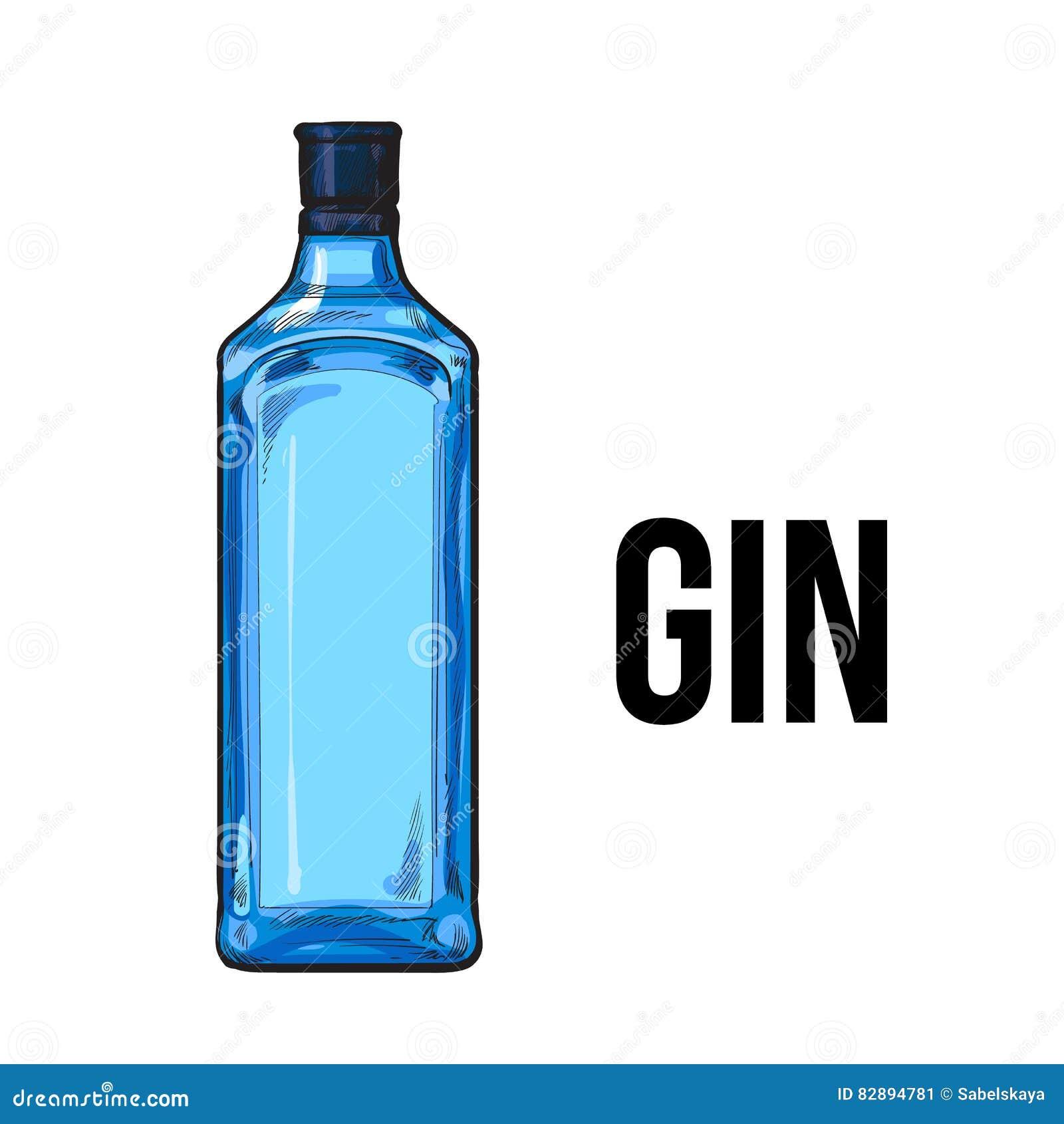 Botella De Cristal Tradicional De La Ginebra Azul Sin Etiqueta ...