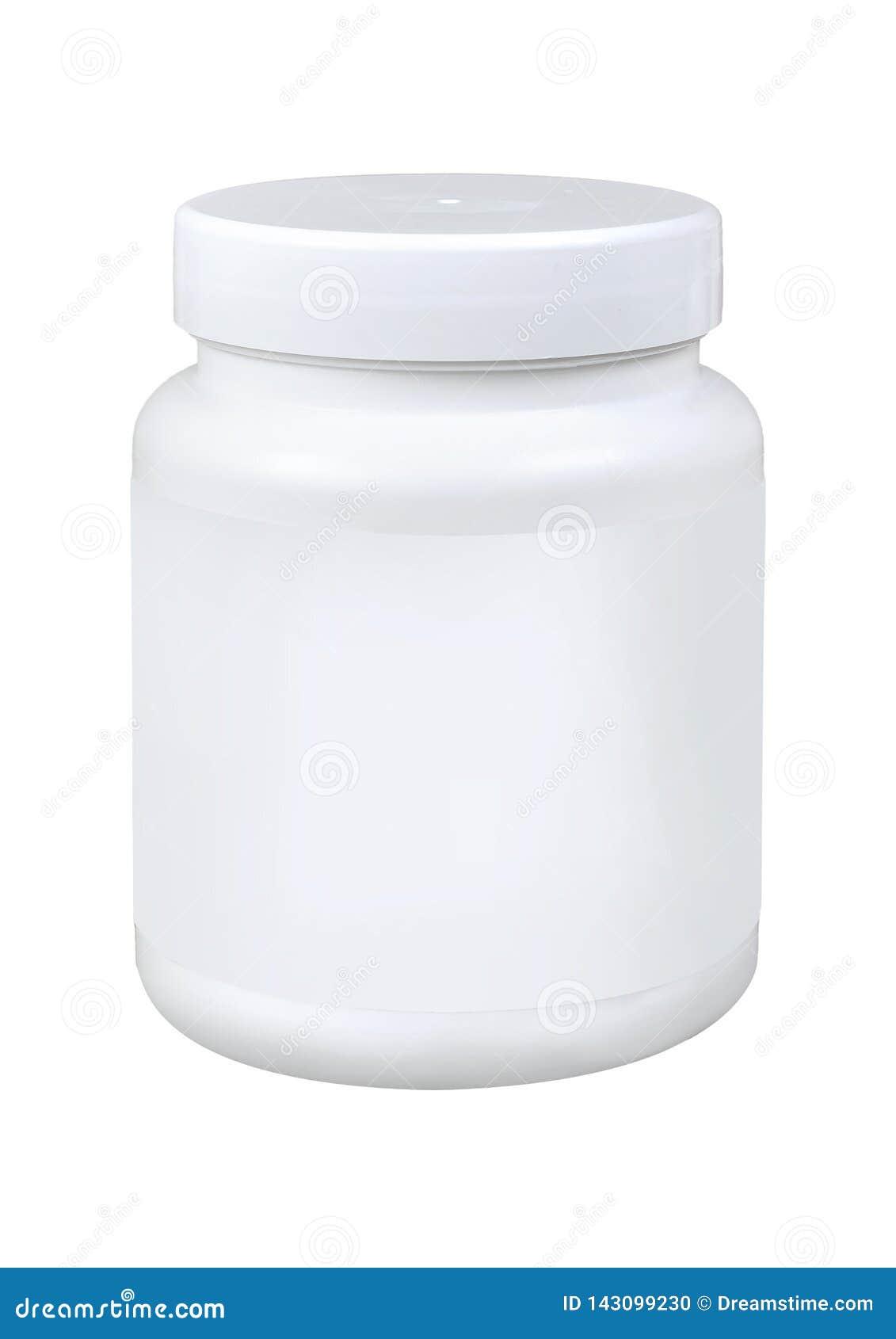 Botella de píldora blanca de la medicina aislada en un fondo blanco