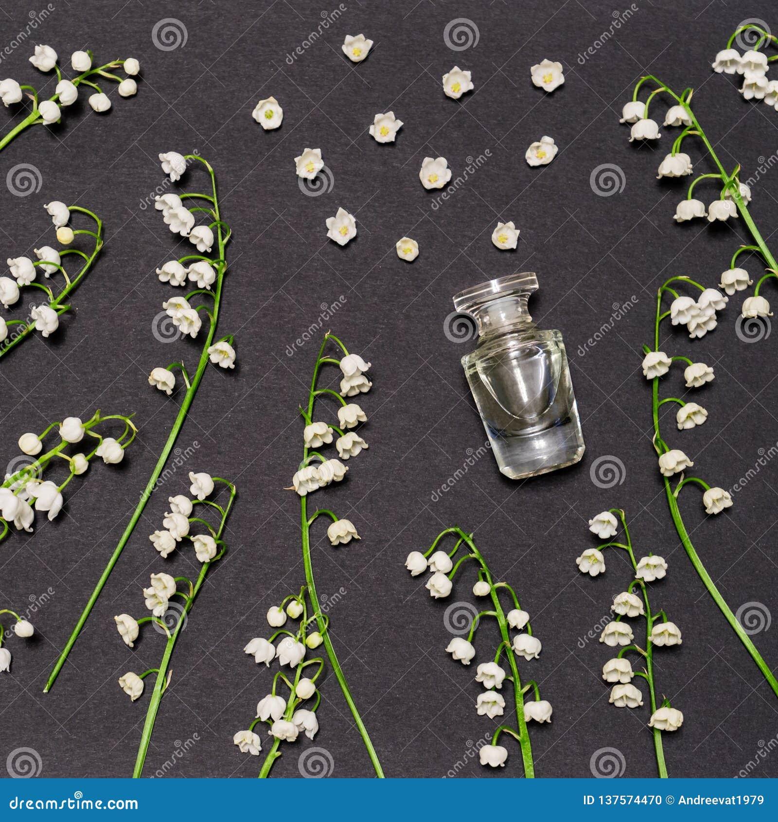 Botella de perfume y de lirios de las flores del valle en fondo negro Perfumería, fragancia, concepto cosmético Primavera o veran