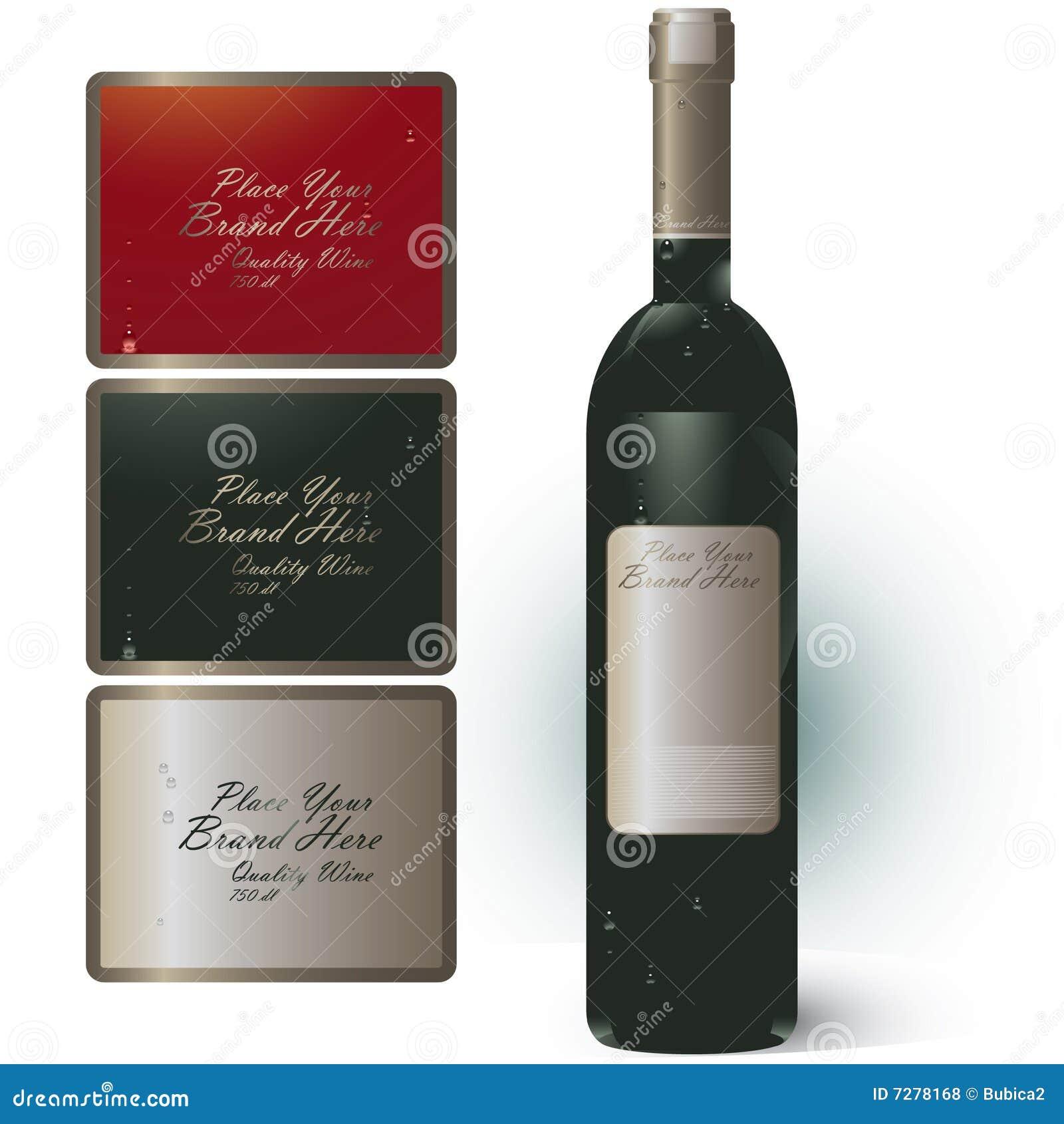 Botella de vino con la bandera de la marca de fábrica