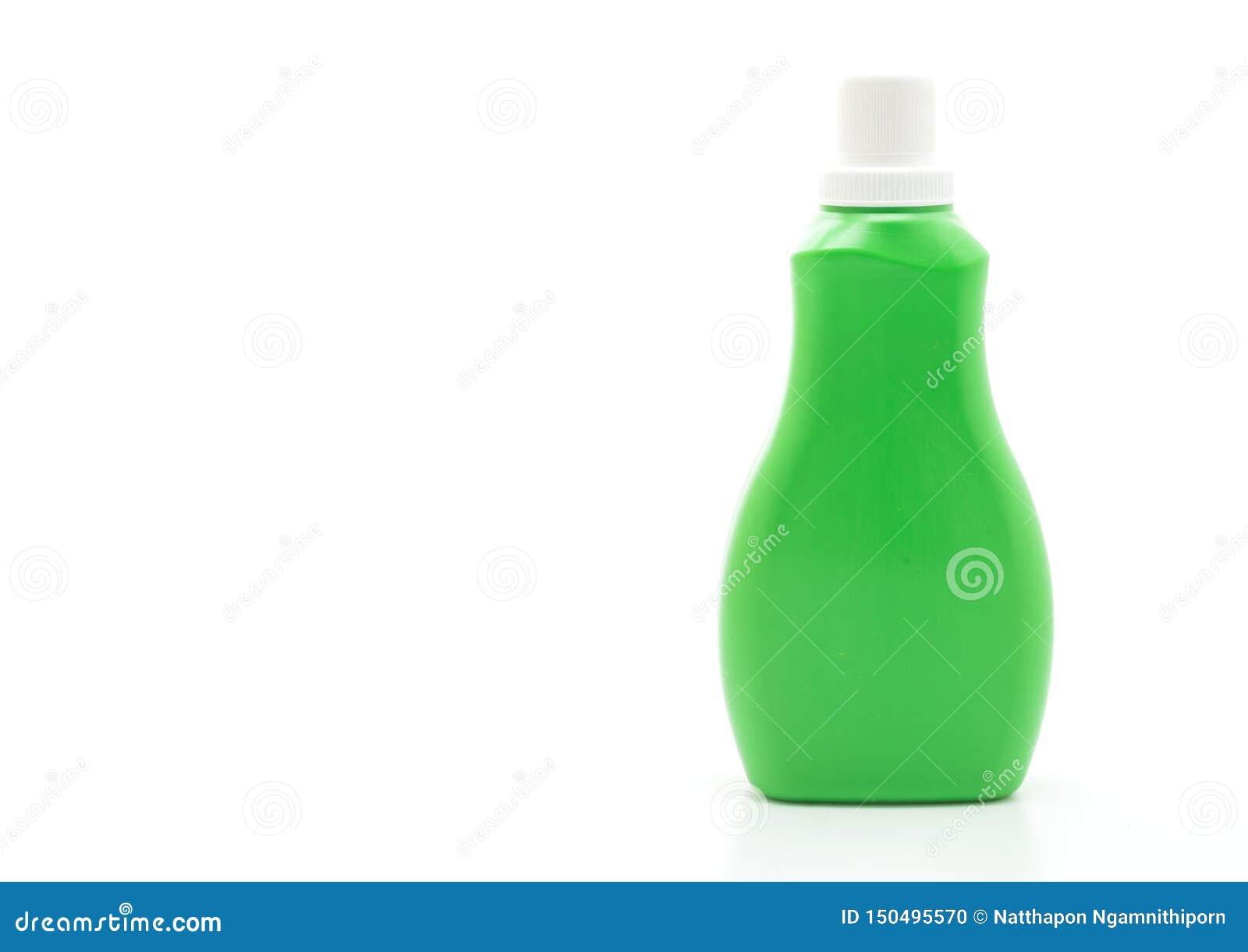 Botella pl?stica verde para la limpieza l?quida del detergente o del piso en el fondo blanco