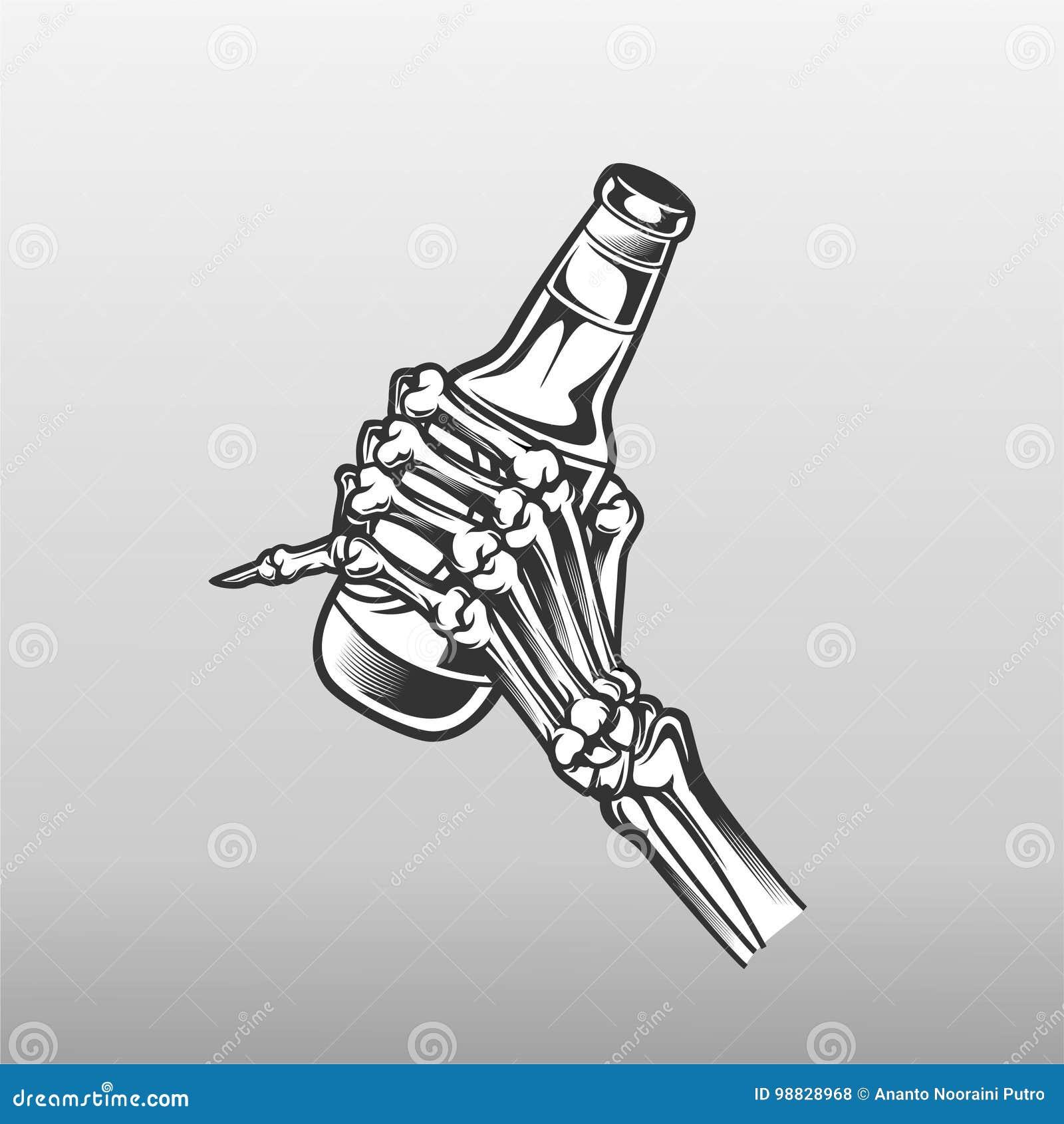 Botella y la mano del cráneo